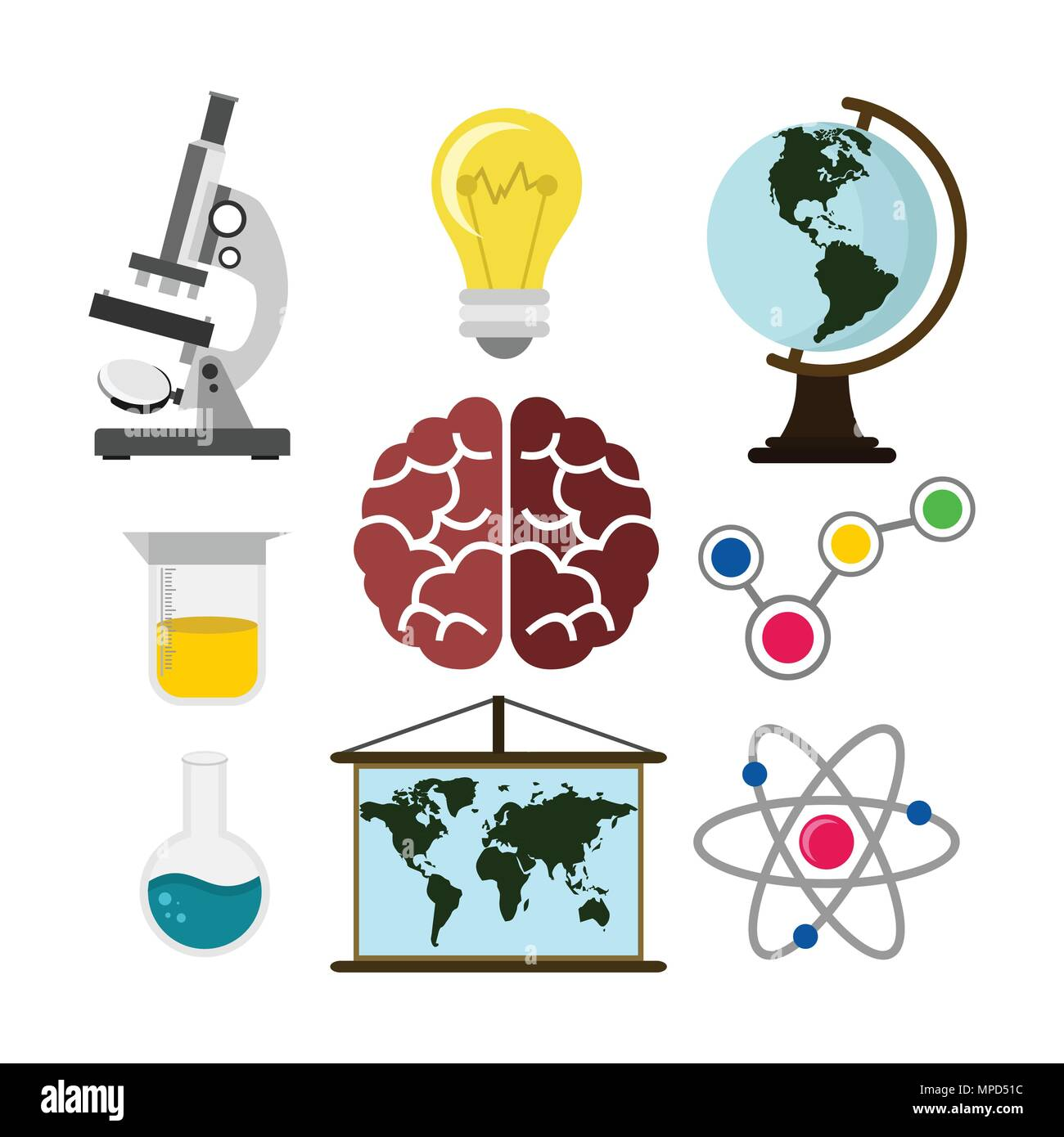 Education Related Objects Vector Illustration Graphic Design Set - Stock Vector