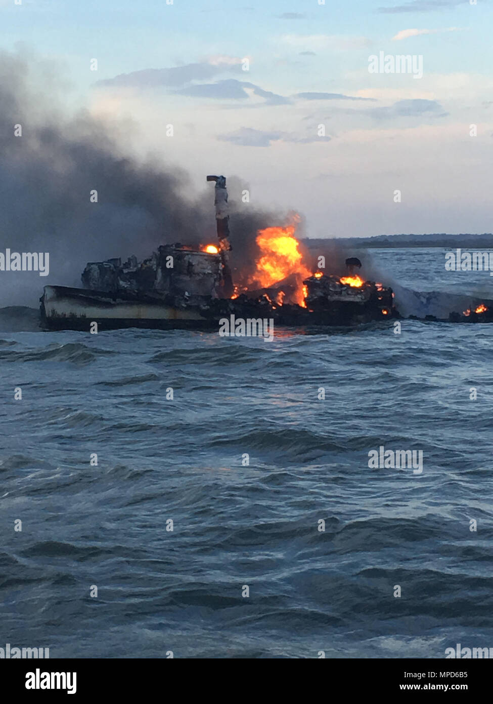 The Coast Guard Rescued Three Fishermen Tuesday After Their Vessel Caught Fire 1 Mile East Of St Catherines Island Coast Guard Sector Charleston Command Center Watchstanders Received A Call From The Fishing