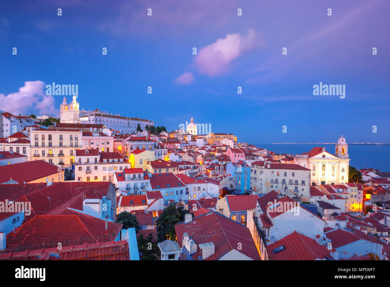 Alfama at night, Lisbon, Portugal - Stock Image