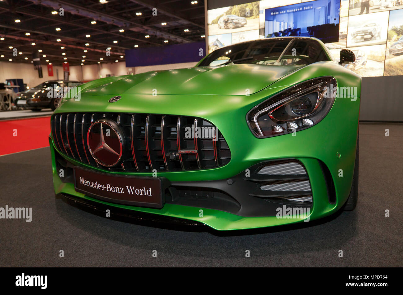 Front view of a Mercedes-AMG GT R  on display at the  Mercedes-Benz World Stand, of the 2018 London Motor Show Stock Photo