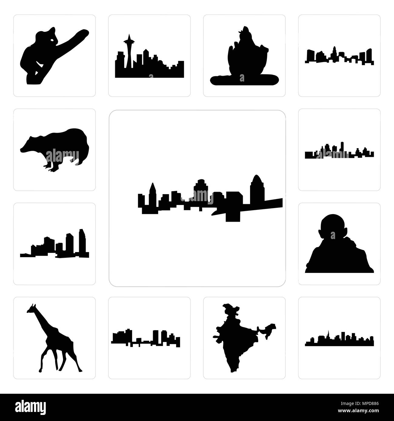 Set Of 13 simple editable icons such as cincinnati skyline, st paul skyline on white background, , india map, fort worth giraffe, gandhi, long island  - Stock Image