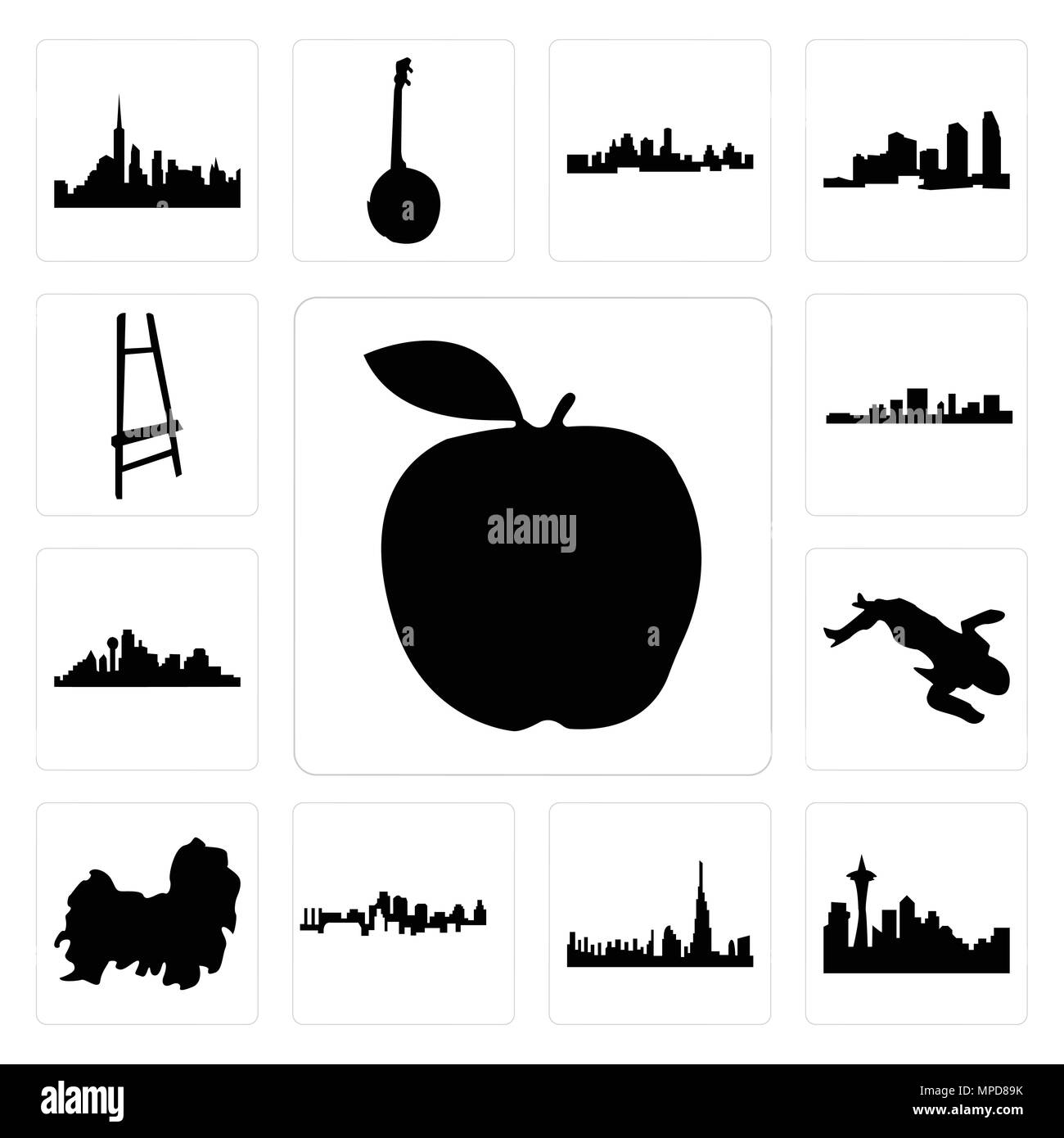Set Of 13 Simple Editable Icons Such As Apple Seattle Skyline On