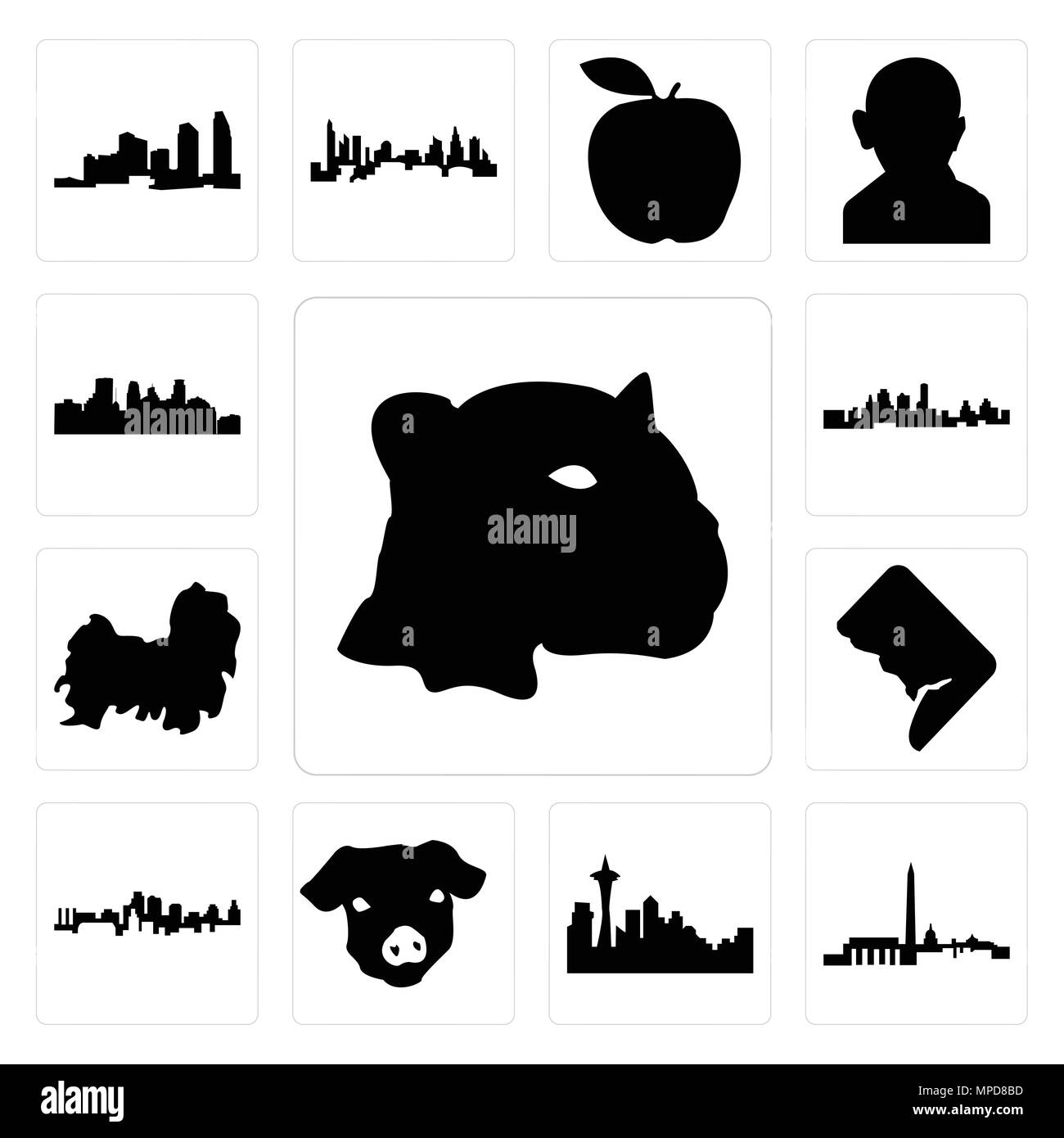 Set Of 13 Simple Editable Icons Such As Jaguar Face Dc Skyline