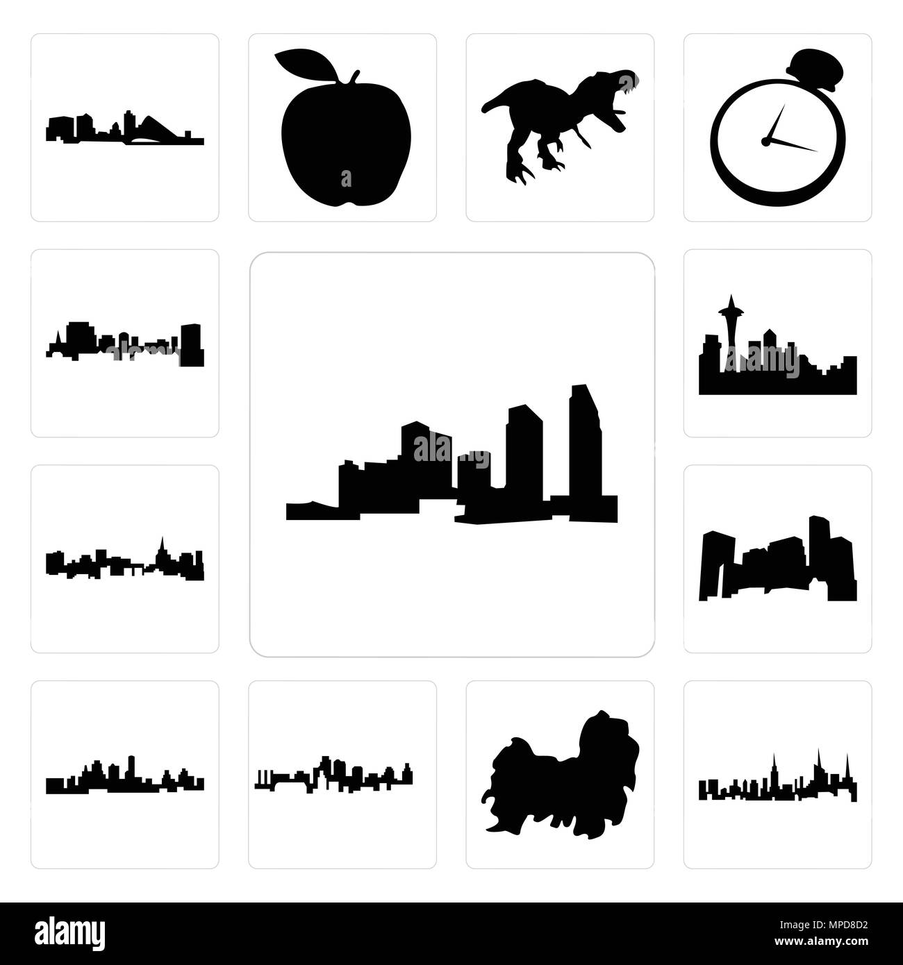 Set Of 13 Simple Editable Icons Such As Long Island Nyc Skyline
