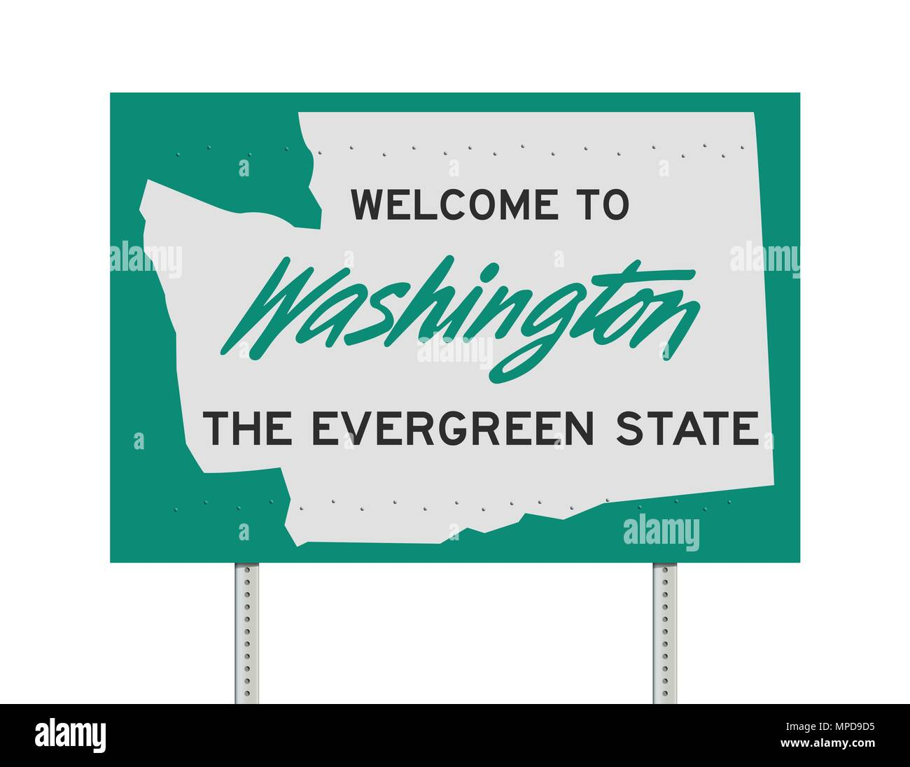 The Evergreen State >> Vector Illustration Of The Welcome To Washington The