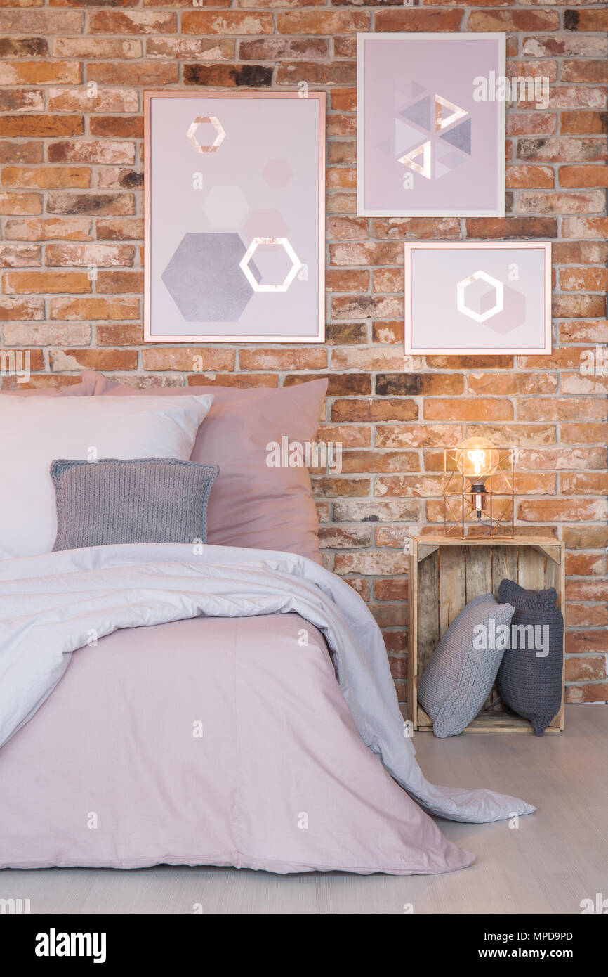 Bedroom With Modern Wall Decoration Bed And Crate Nightstand Stock Photo Alamy