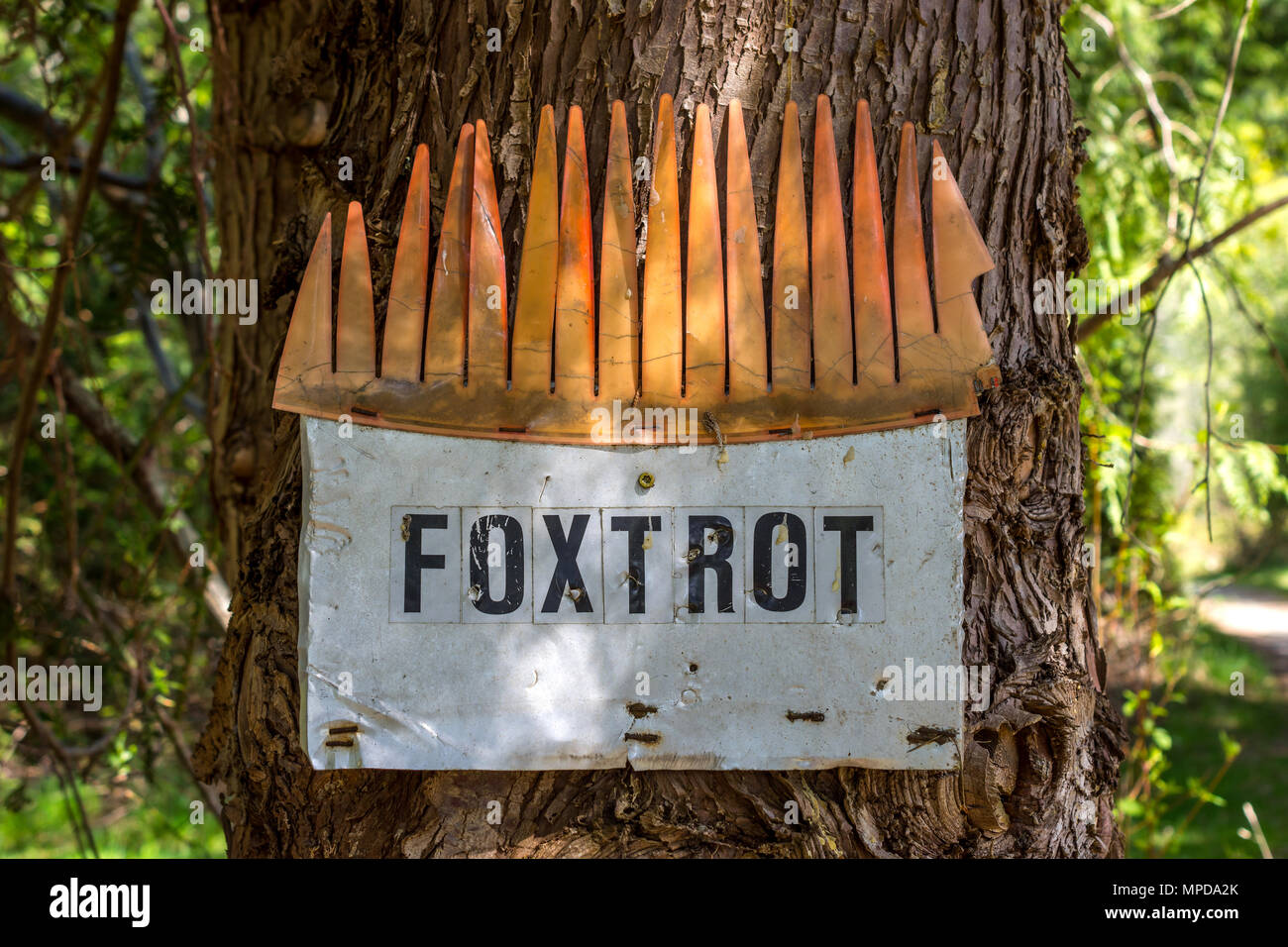 'Foxtrot' house name sign, Hornby Island, BC, Canada. - Stock Image