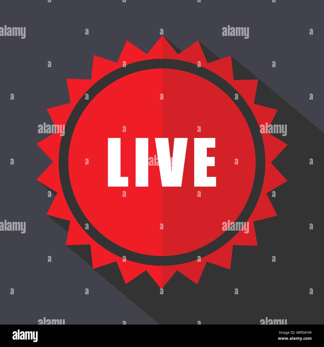 Live red vector sticker flat design icon - Stock Image