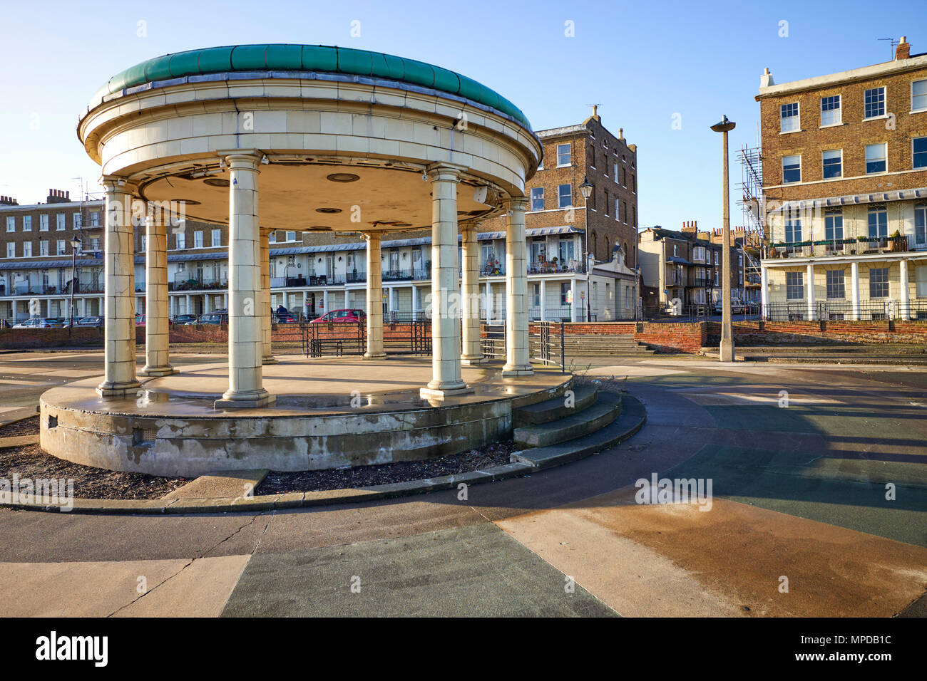 Bandstand and terraced Georgian houses in Ramsgate, Kent - Stock Image