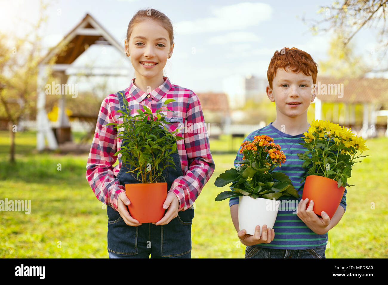 Nice positive children looking at you - Stock Image