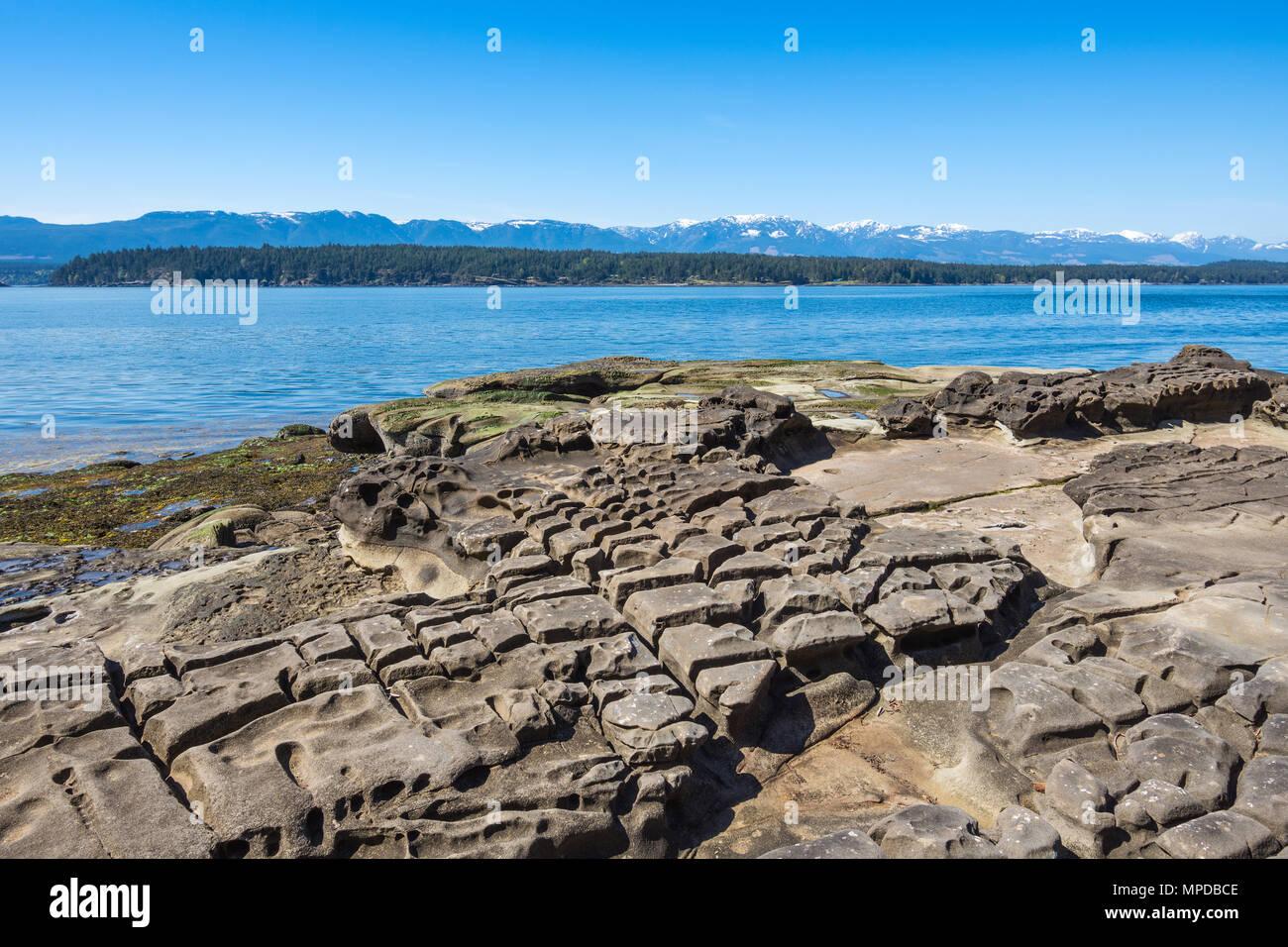Rocky coastline, Hornby Island, BC, Canada. - Stock Image