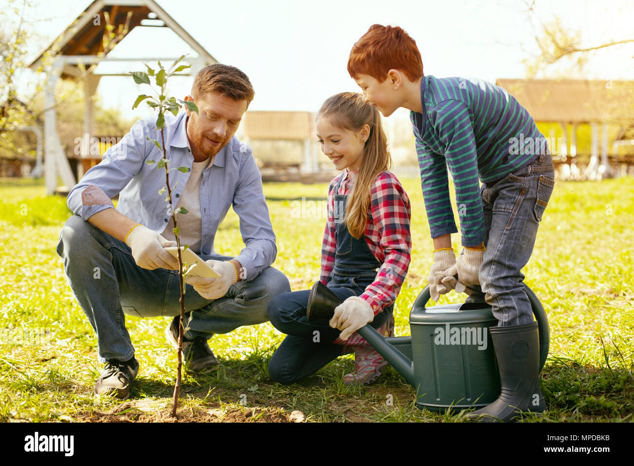 Joyful happy family being together - Stock Image