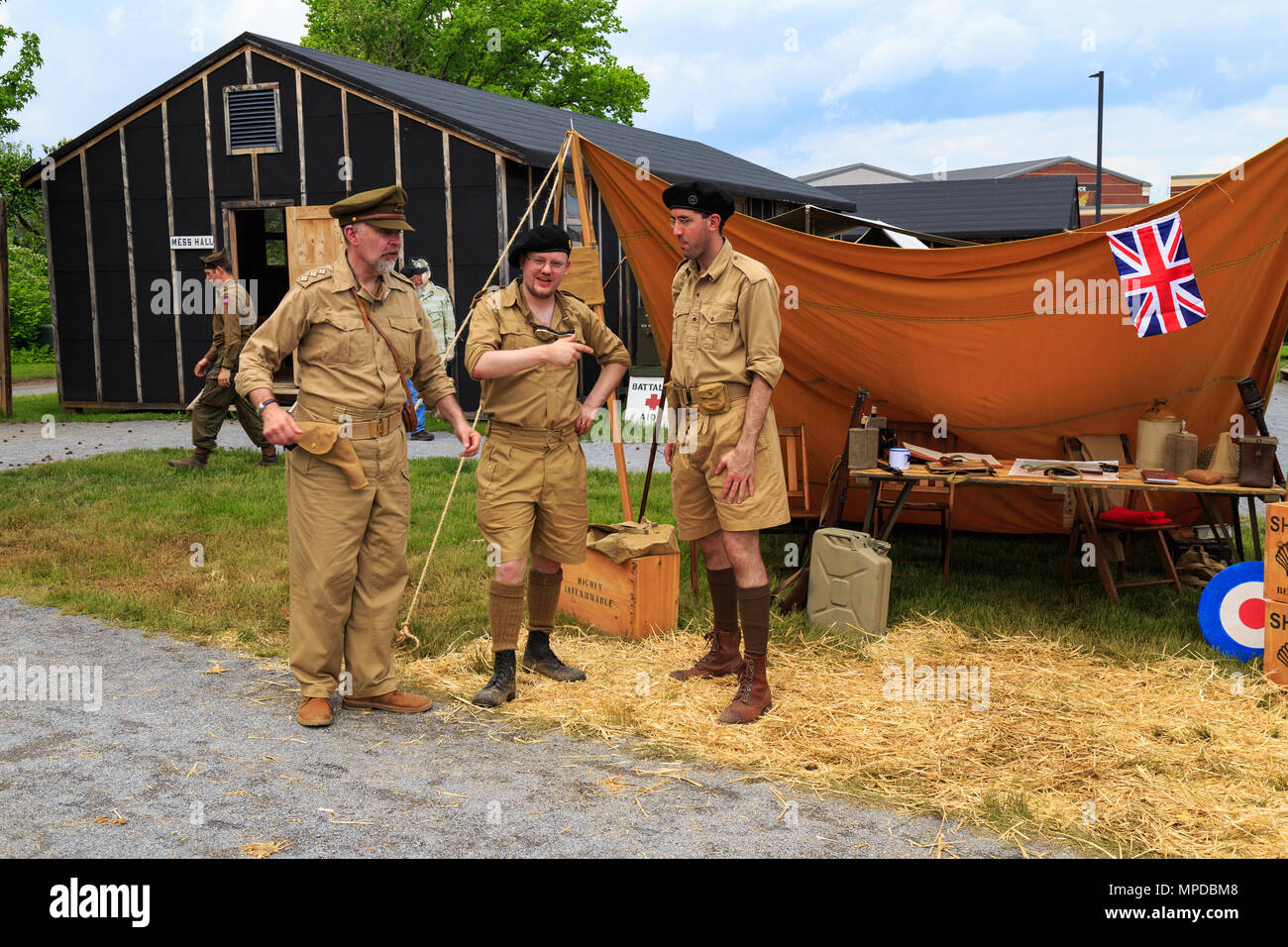 Carlisle, PA, USA - May 20, 2018: WWII British army soldier reenactors participating in the Army Heritage Days event at the U.S. Army Heritage and Edu - Stock Image