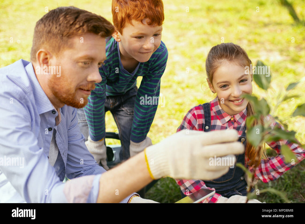 Positive nice man talking to his children - Stock Image