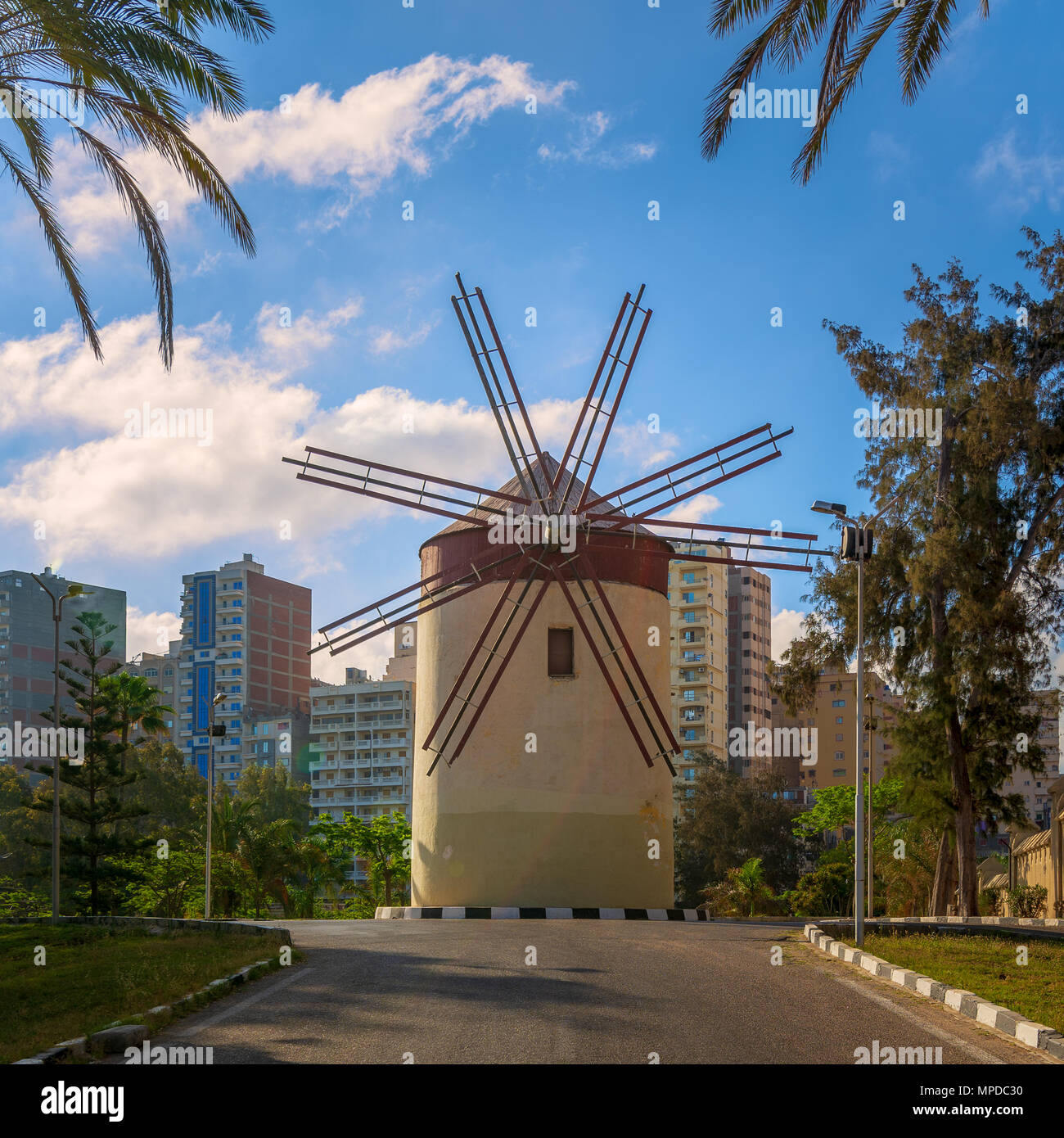 Old traditional windmill at Montaza public park in sunny summer day, Alexandria, Egypt - Stock Image
