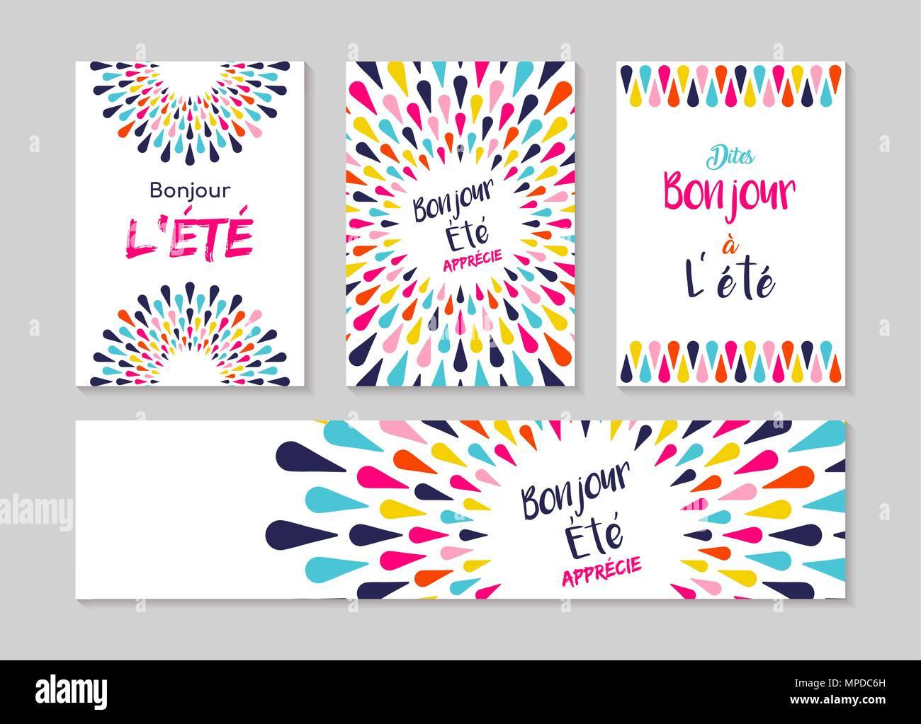 Hello summer greeting card set in french language enjoy vacation