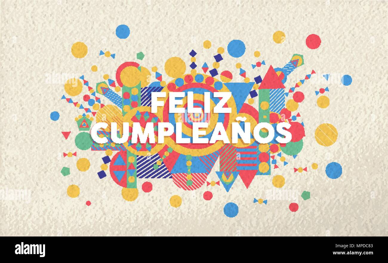 Happy Birthday Greeting Card Illustration In Spanish Language