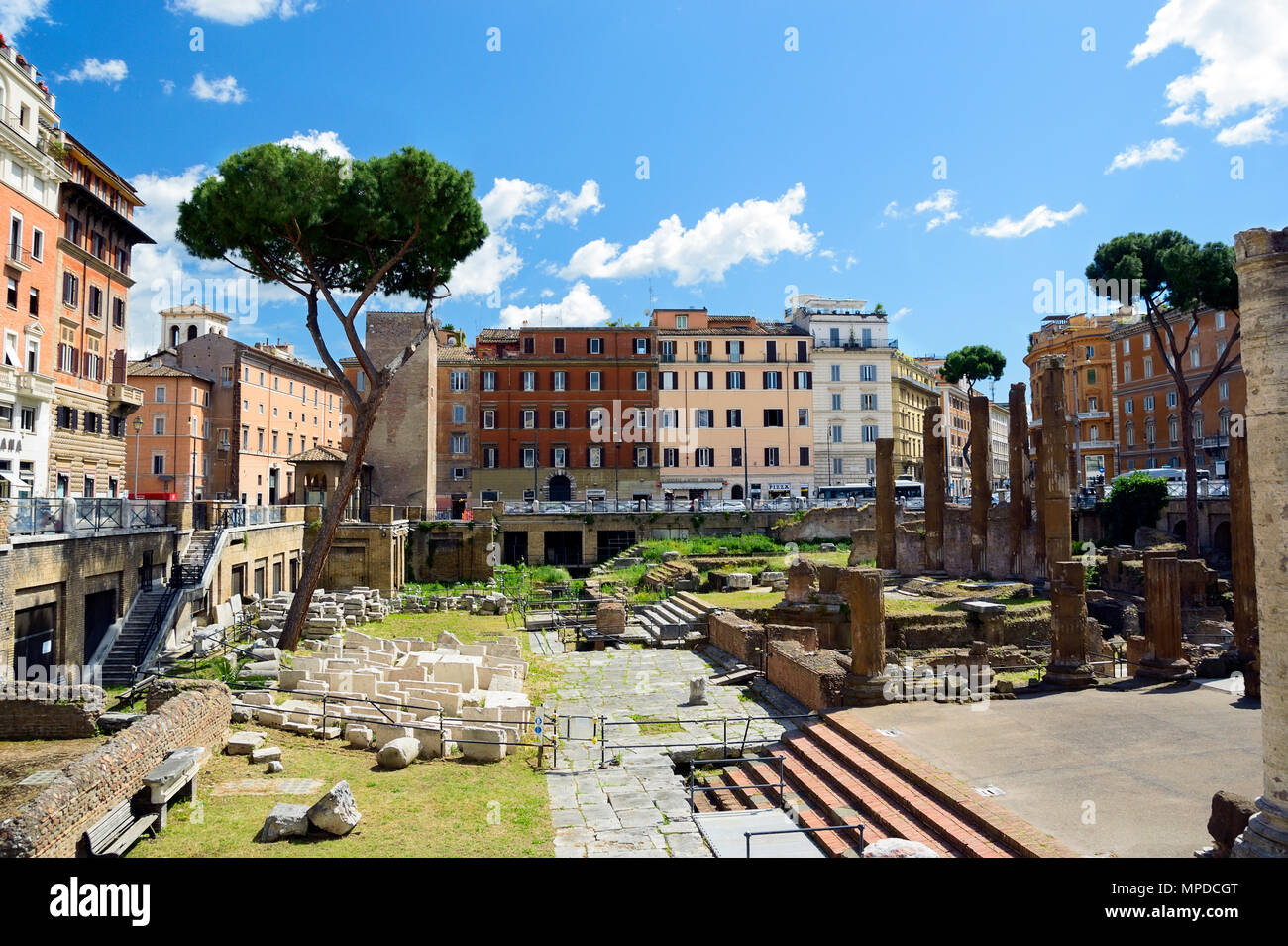 Largo di Torre Argentina. Square with ancient ruins of four Roman Republican temples and Pompey's Theatre in Rome, Italy - Stock Image