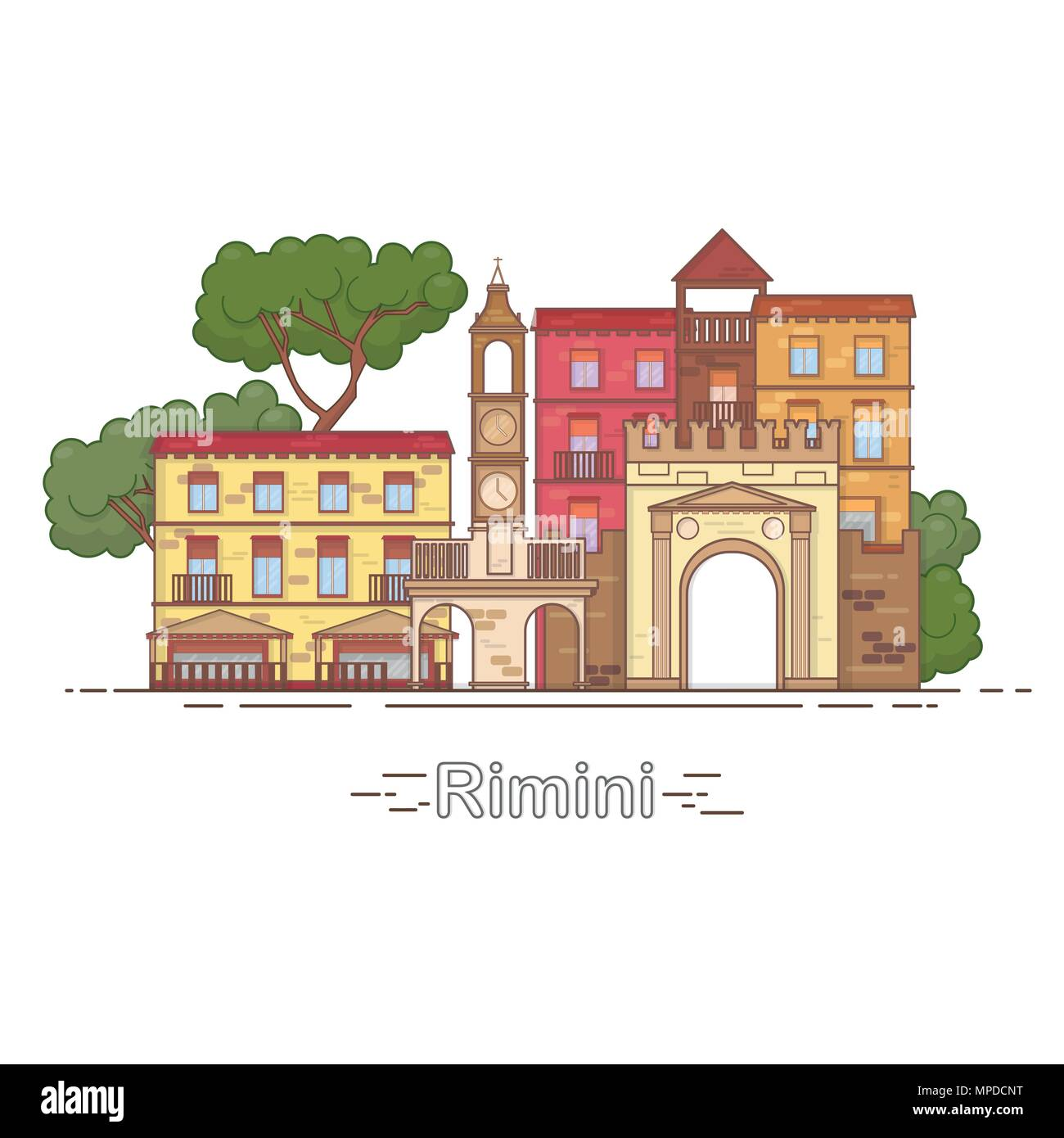 Italy, Rimini outline city skyline, linear illustration, banner, travel landmark - Stock Image