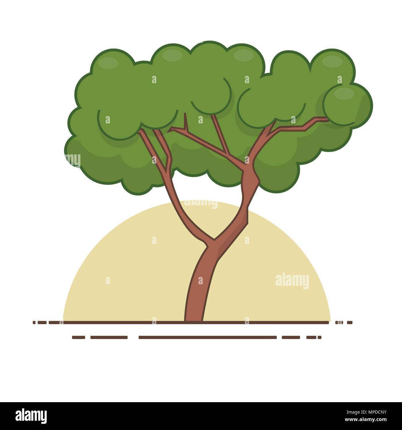 Green tree icon vector. Line color nature symbol isolated Stock ...