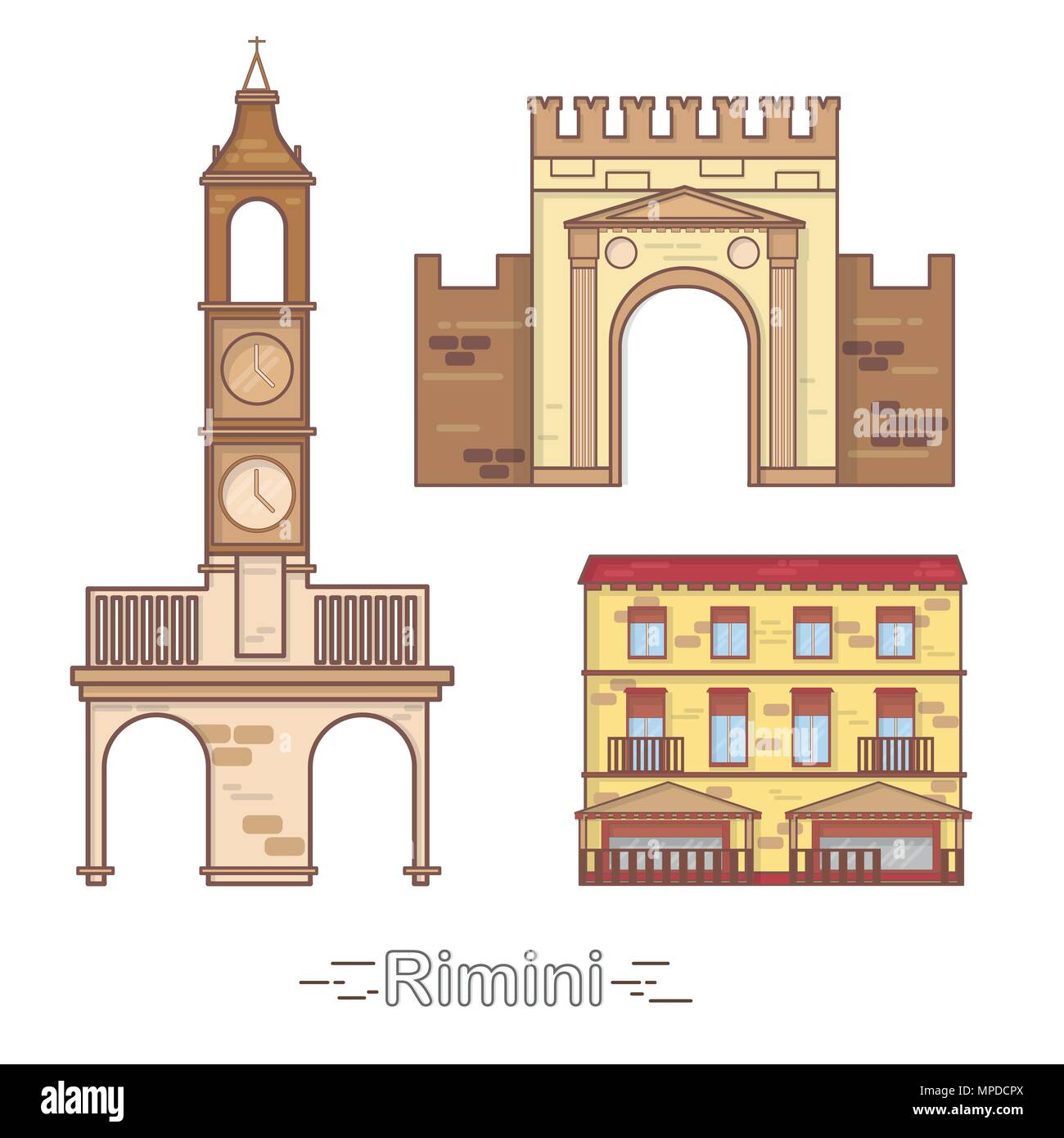 Italy, Rimini outline city buildings, linear illustration, travel landmark - Stock Image