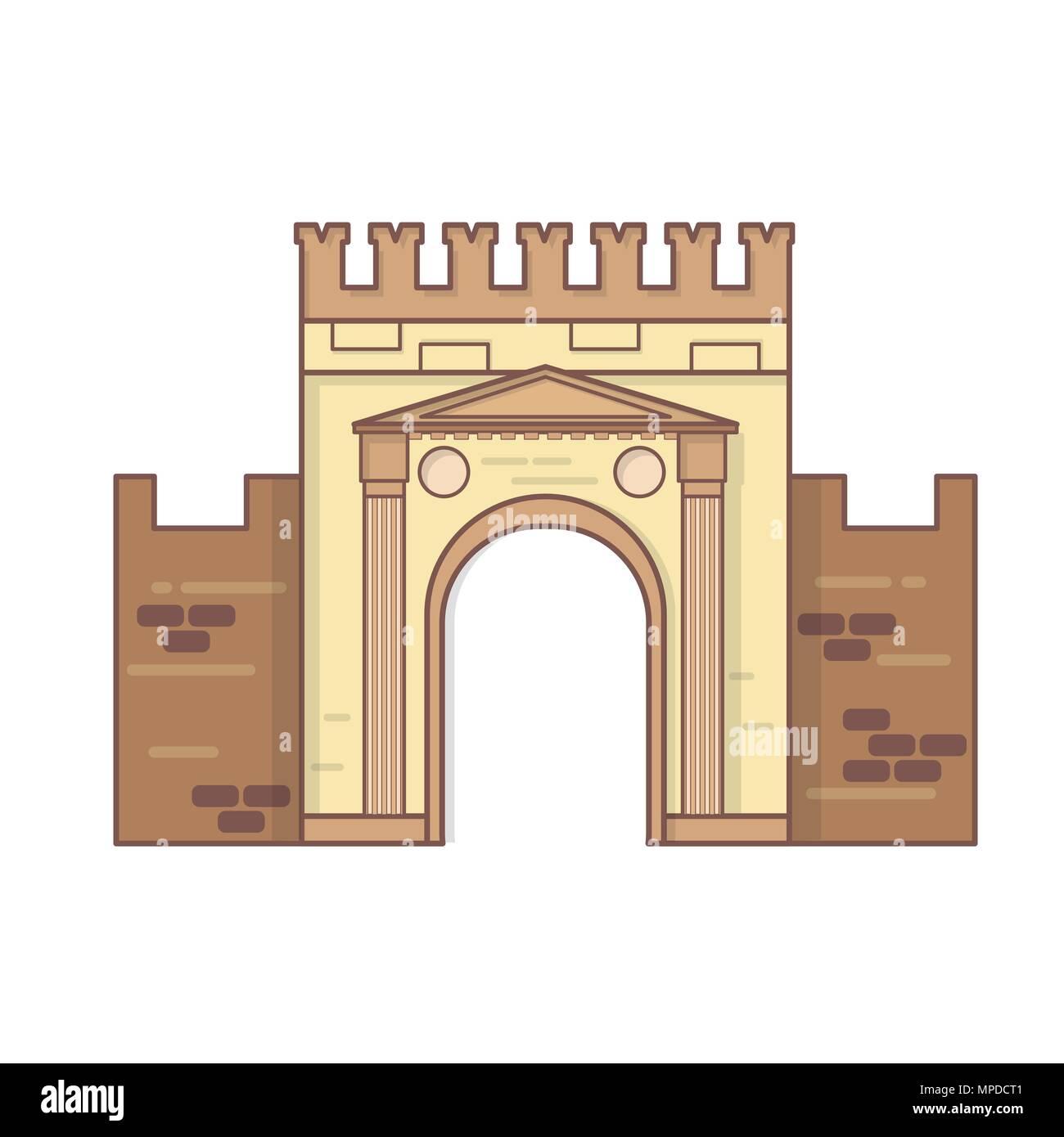 Rimini, Emilia Romagna, Italy Arch of Augustus vector, ancient romanesque gate - Stock Vector