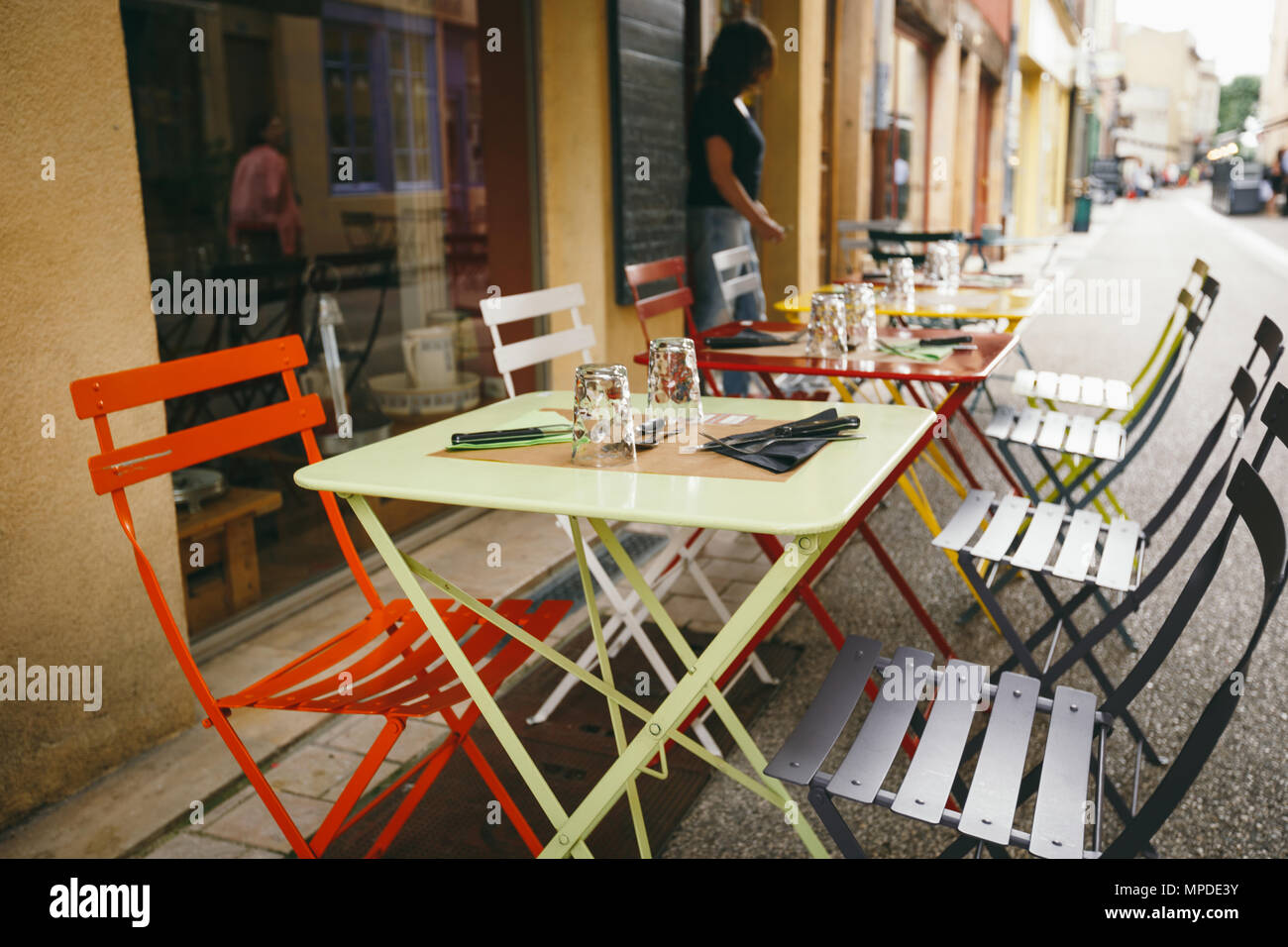 Theme Cafes And Restaurants Exterior Summer Terrace Of Bright Colors Of Street Cafe Shop In Europe In France Preserved Tables Without People At Tab Stock Photo Alamy