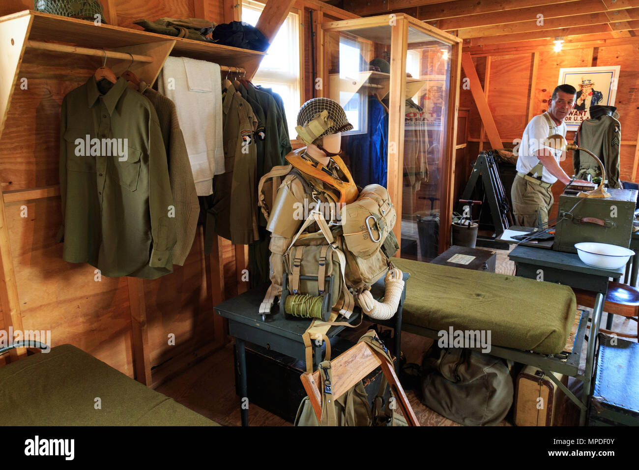Carlisle, PA, USA - May 20, 2018: WWII Army barracks were recreated