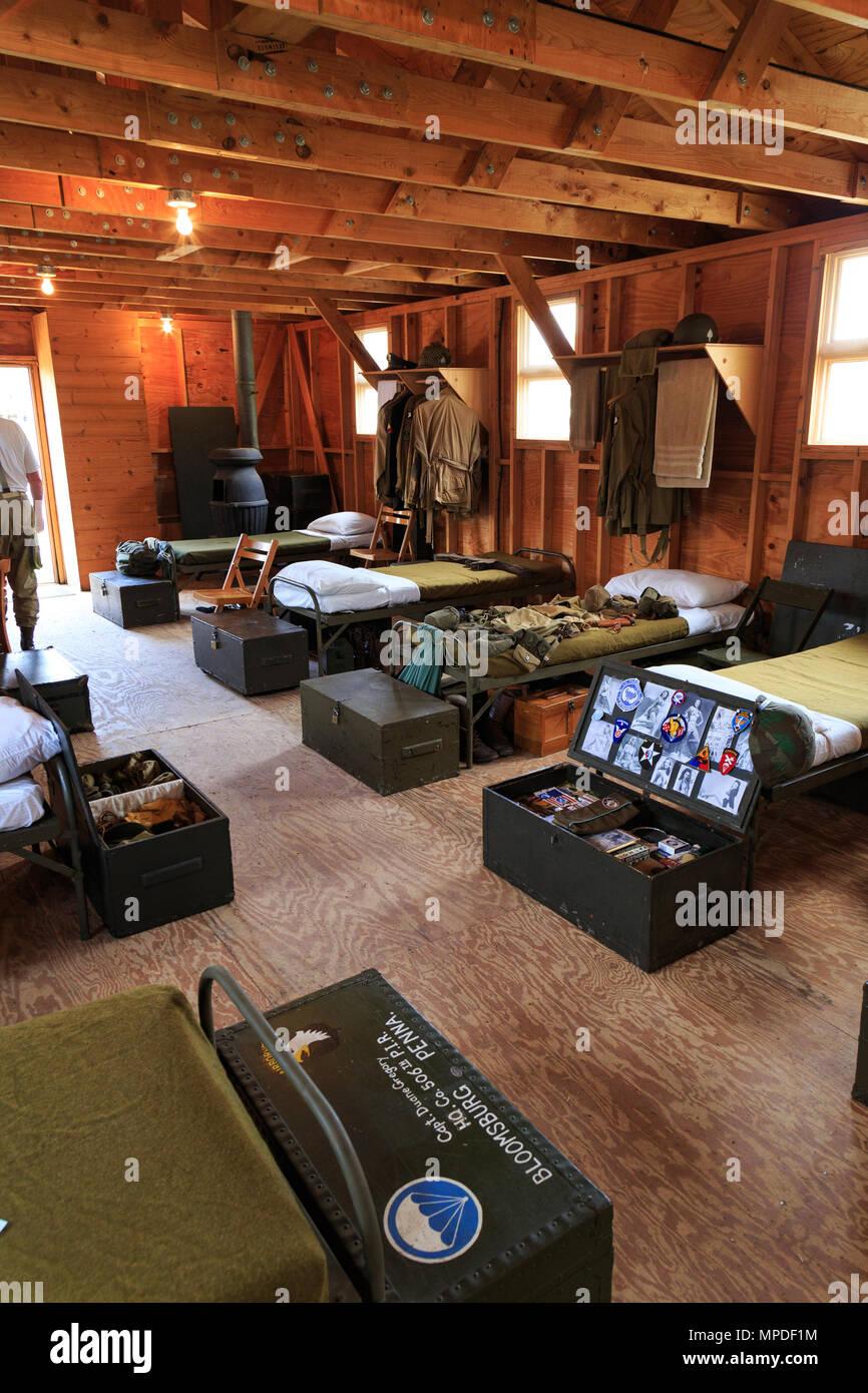 Carlisle, PA, USA - May 20, 2018: WWII Army barracks were recreated
