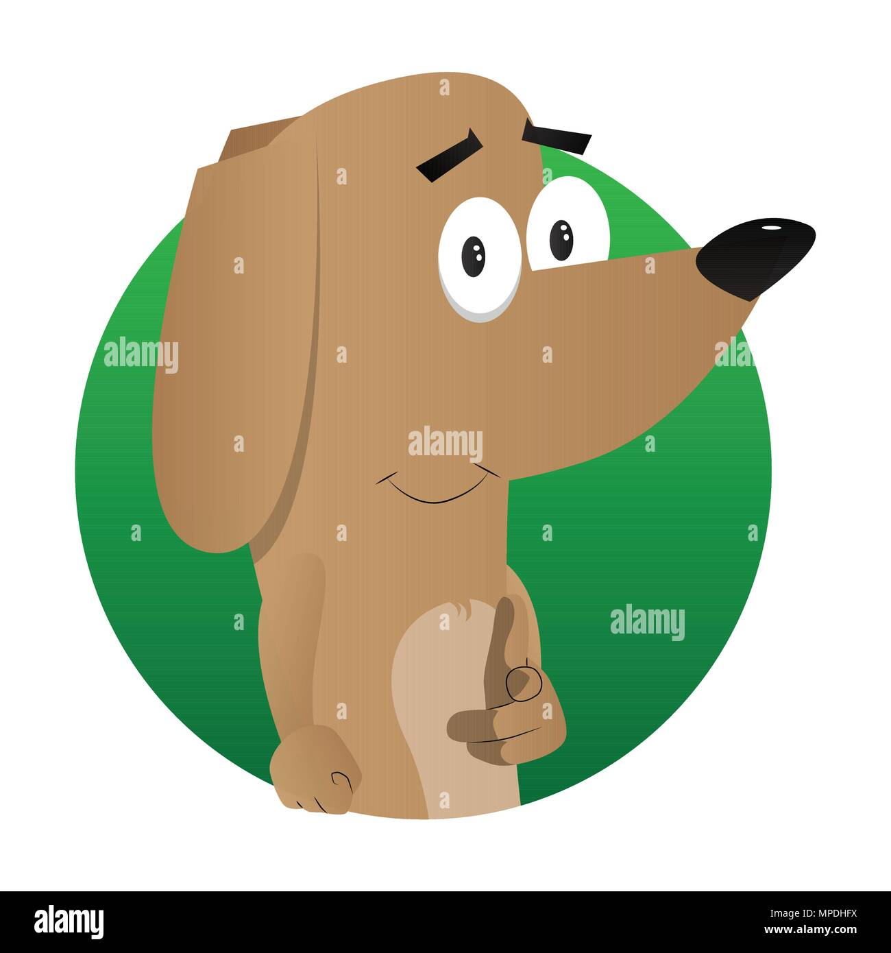 Cartoon illustrated dog pointing at the viewer with his hand. - Stock Vector