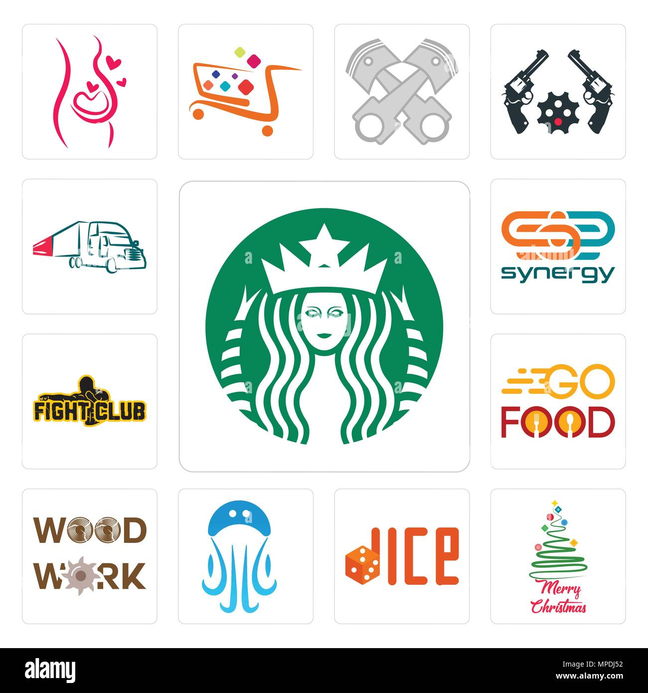 set of 13 simple editable icons such as starbucks merry christmas dice jellyfish woodwork go food fight club synergy truck company can be used - Starbucks Merry Christmas