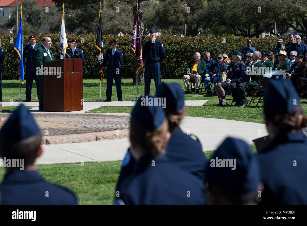 Retired U.S. Air Force Col. James Humphries, speaks during a ceremony celebrating the anniversary of the first flight of Army Signal Corps aircraft No. 1 March 2, 2017, at JBSA-Fort Sam Houston, Texas. On March 2, 1910, then-Army Lt. Benjamin Foulois became the first person to make a military flight, from a military facility, in a government owned plane flown by a military-trained pilot. (U.S. Air Force photo by Senior Airman Stormy Archer) - Stock Image