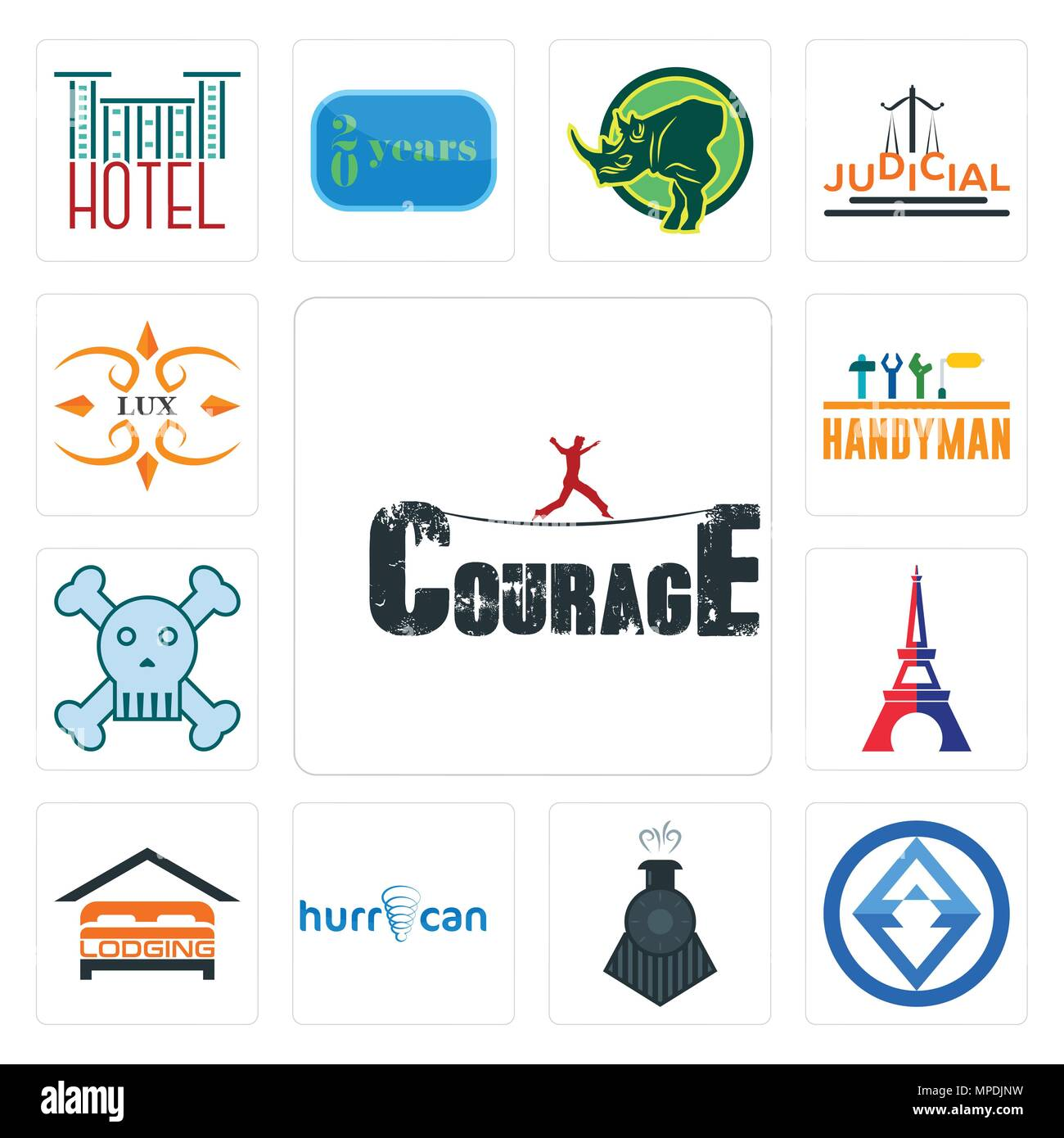 Set Of 13 Simple Editable Icons Such As Courage 3 Letter