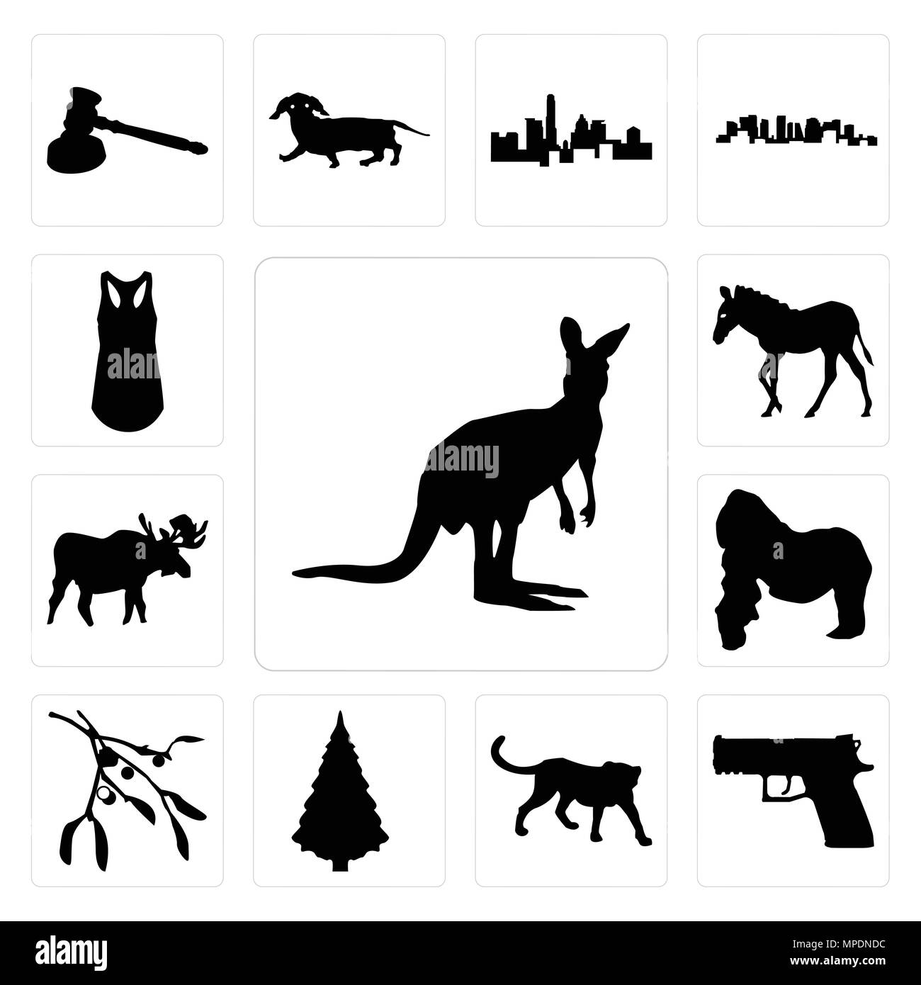 ba18ef624bed3 Set Of 13 simple editable icons such as kangaroo outline on white background