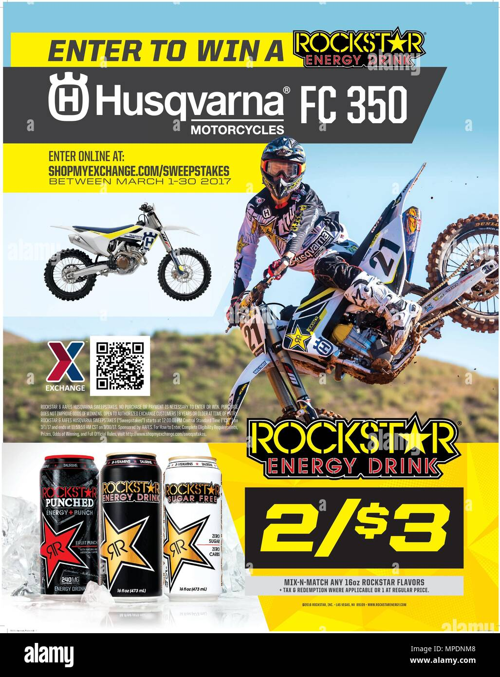 Army & Air Force Exchange Service shoppers can enter the Rockstar Motorcycle Sweepstakes March 1 through 30 for an opportunity to win a Rockstar Husqvarna FC 350 motorcycle, valued at $9,299. Authorized shoppers 18 and older can enter at www.shopmyexchange.com/sweepstakes. - Stock Image