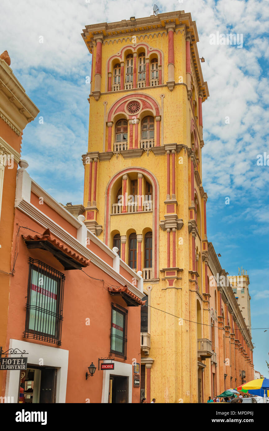 Cartagena, Colombia - March 24, 2017: Street view at Tower of Cartagena Public University, Cartagena, Colombia. - Stock Image