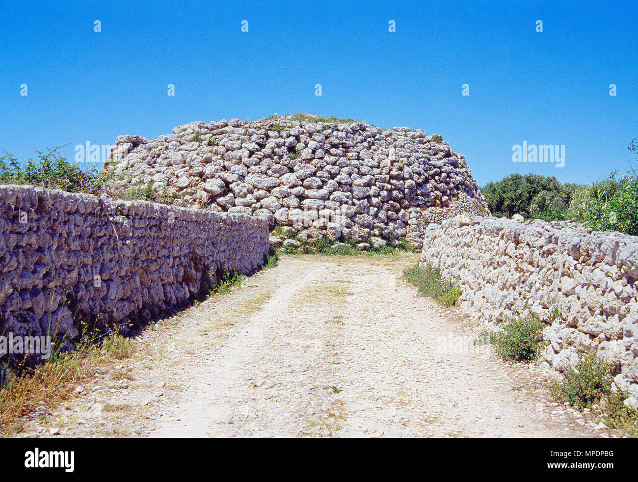 Talayot. Trepuco Archaeological Site, Mahon, Menorca, Balearic Islands, Spain. - Stock Image