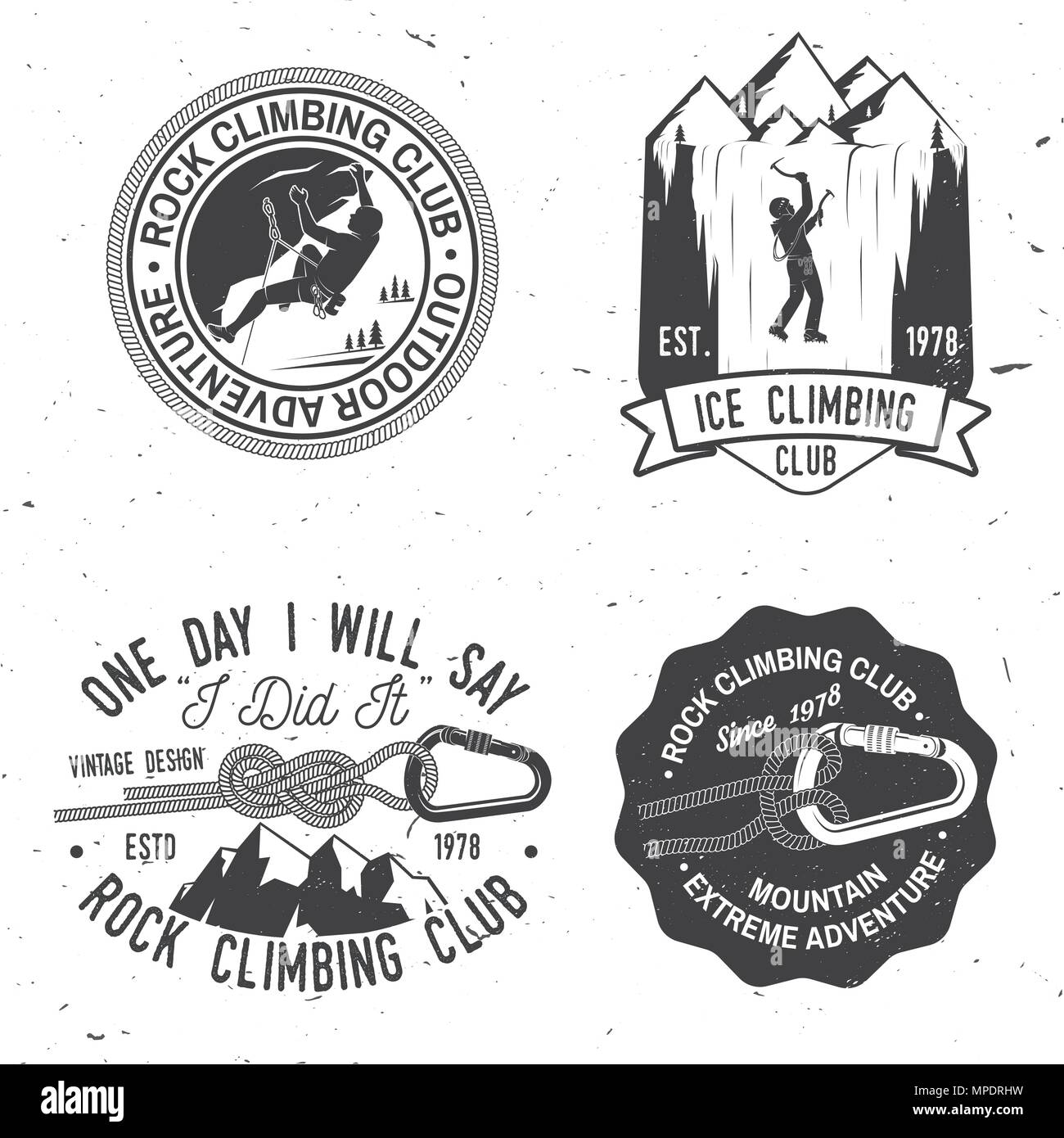 Set Of Rock Climbing Club Badges Vector Illustration Concept For Shirt Or Print Stamp Or Tee Vintage Typography Design With Climber Carabiner And Stock Vector Image Art Alamy