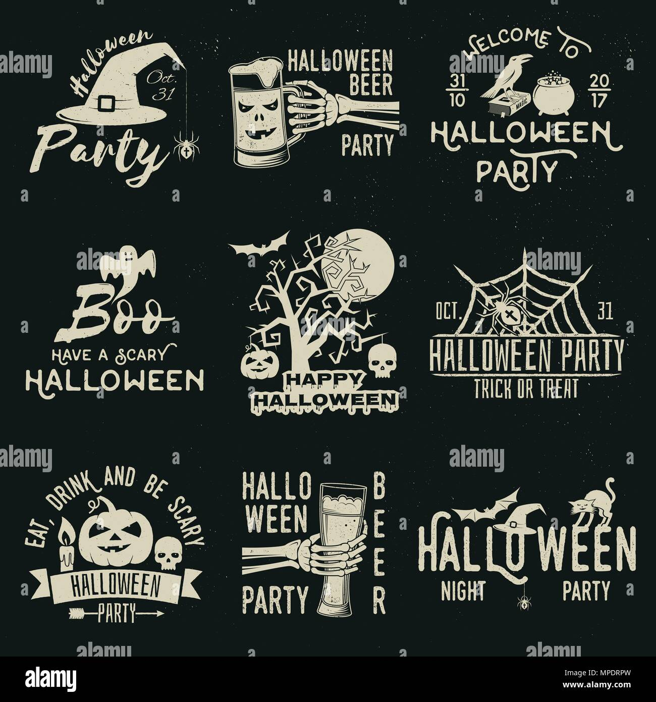 set of halloween celebration collection with retro grunge effect