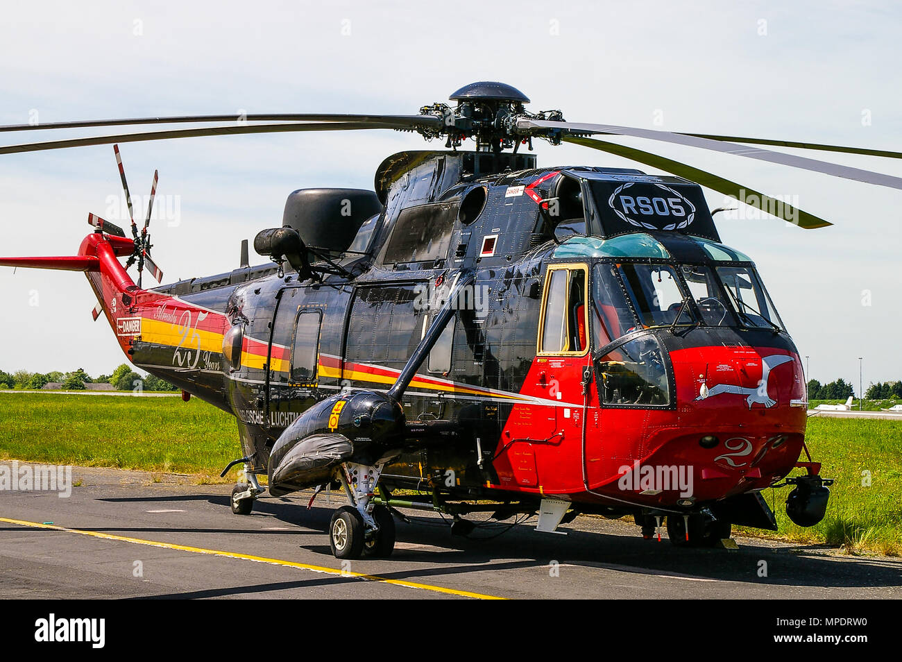 Belgian Sea King helicopter. Westland Sea King Mk48 RS05 with special 25th anniversary colour scheme. Force Aérienne Belge, Belgian Air Force - Stock Image