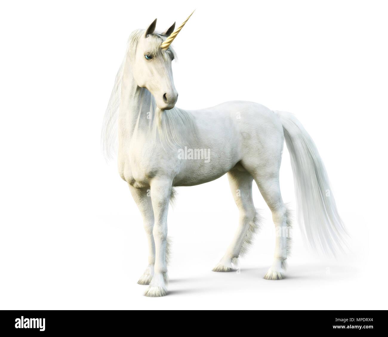 Mythical white Unicorn posing on a white isolated background. 3d rendering - Stock Image