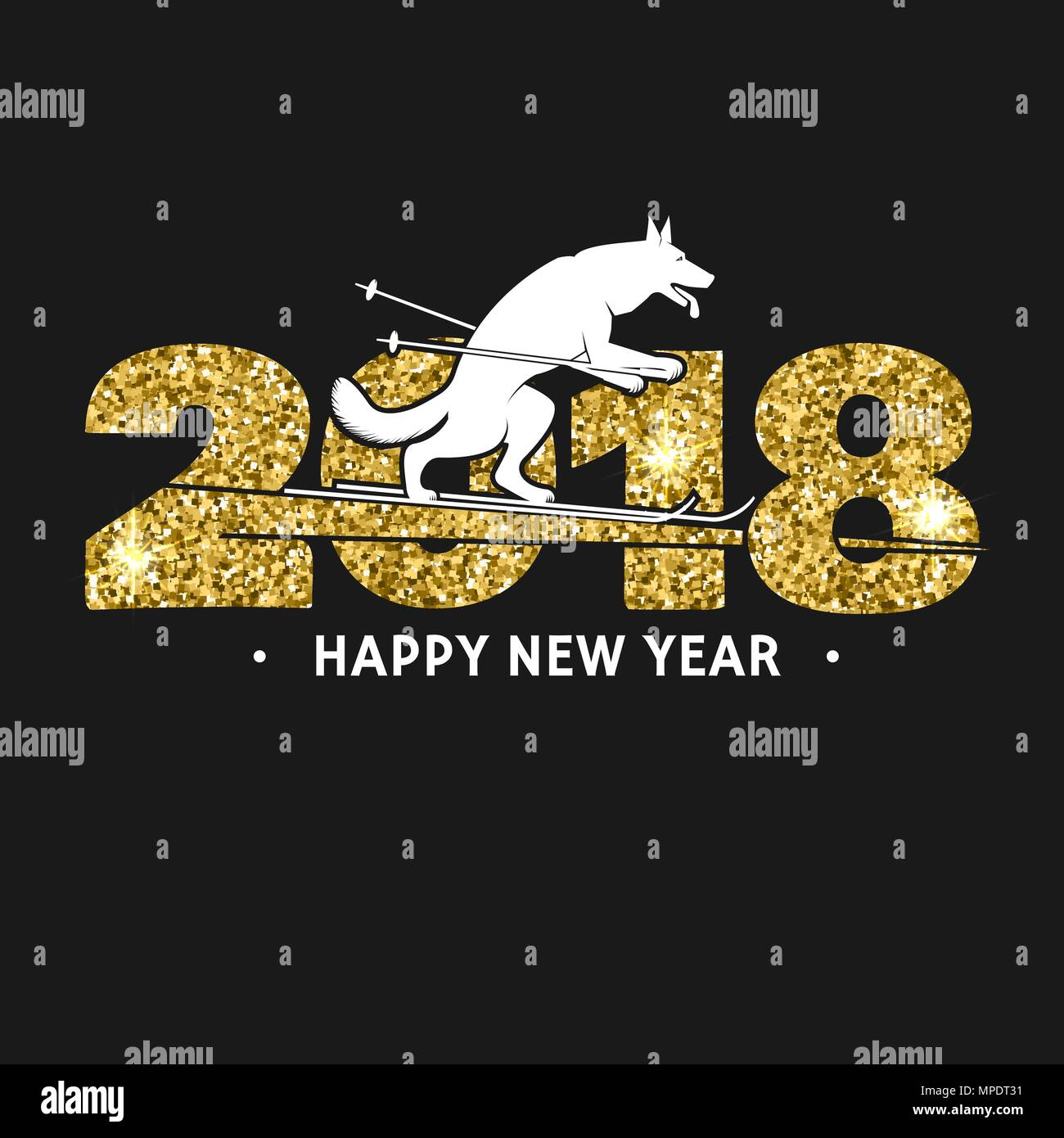 2018 Happy New Year Greeting Card For Banner Poster Brochure Or