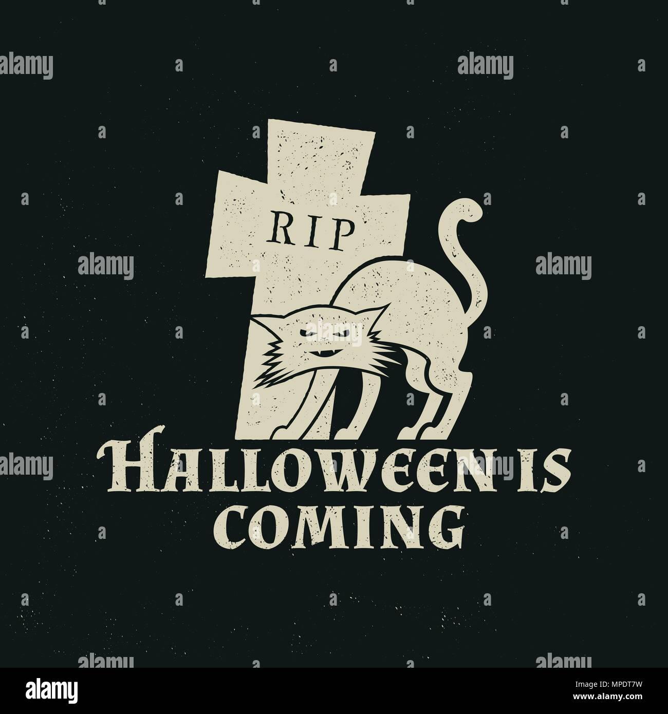 Halloween vintage badge, emblem or label. Vector illustration ...
