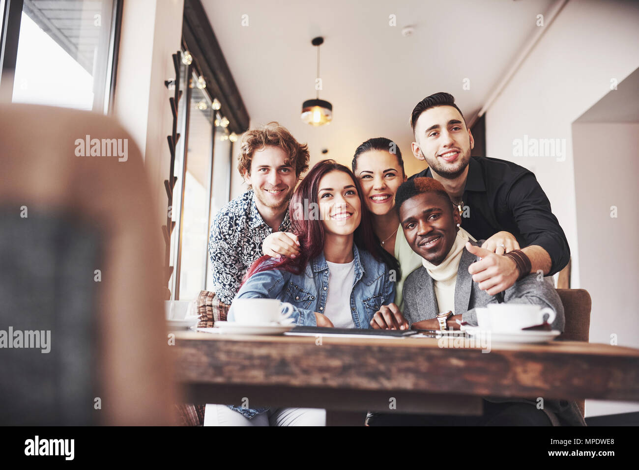 Diverse Group People Sitting Couch Concept - Stock Image