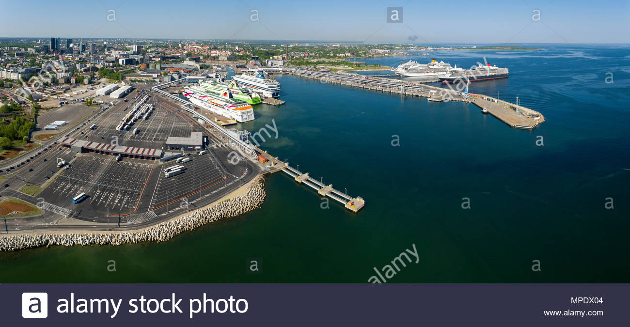 panoramic aerial view, Tallinn passenger Harbor, ferry boat, terminal, Old City Harbour in the Port of Tallinn - Stock Image