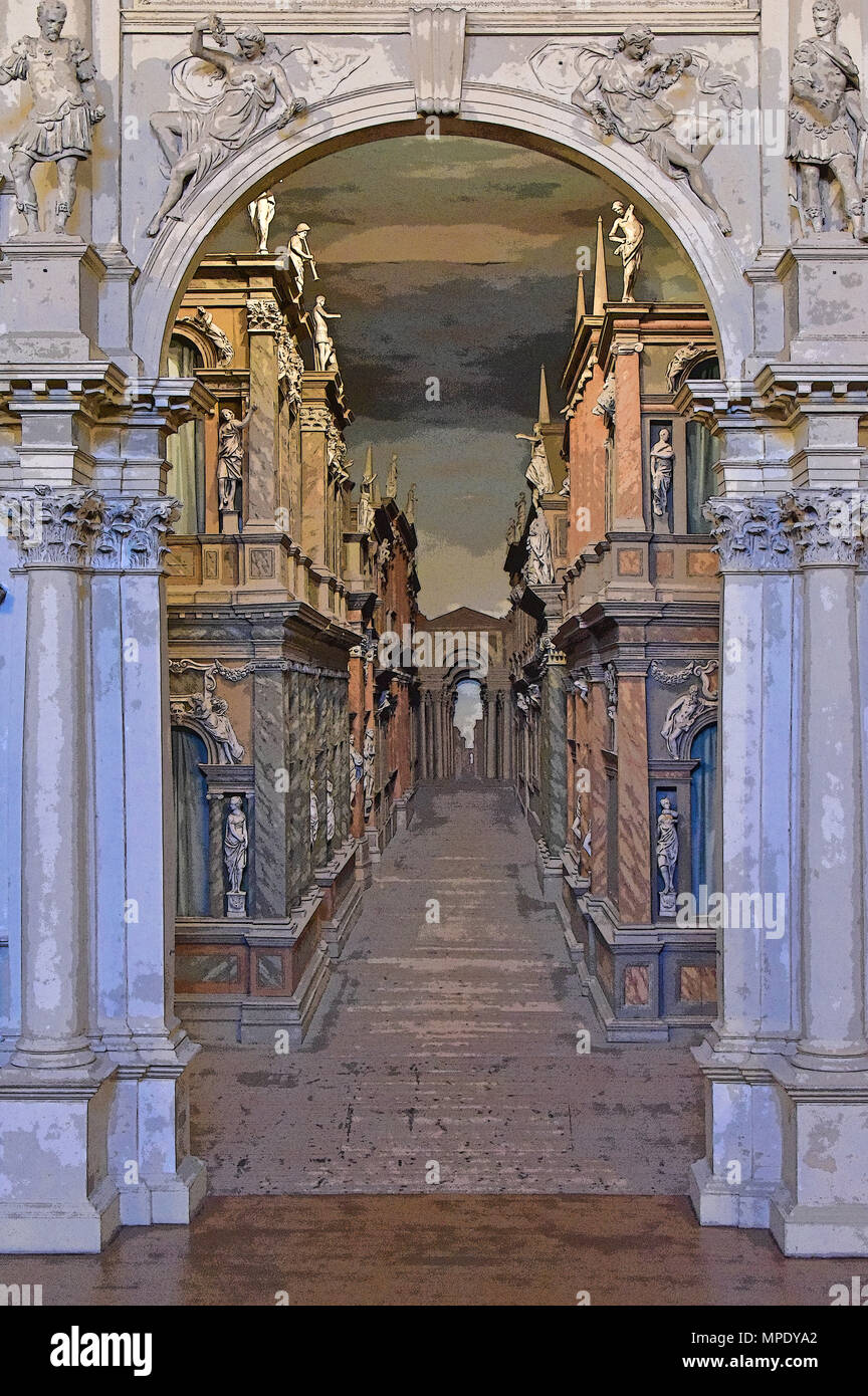 Teatro Olimpico (Renaissance theater), interior view through the central royal arch with scenery beyond (rendered in PS), by Palladio, Vicenza, Italy - Stock Image
