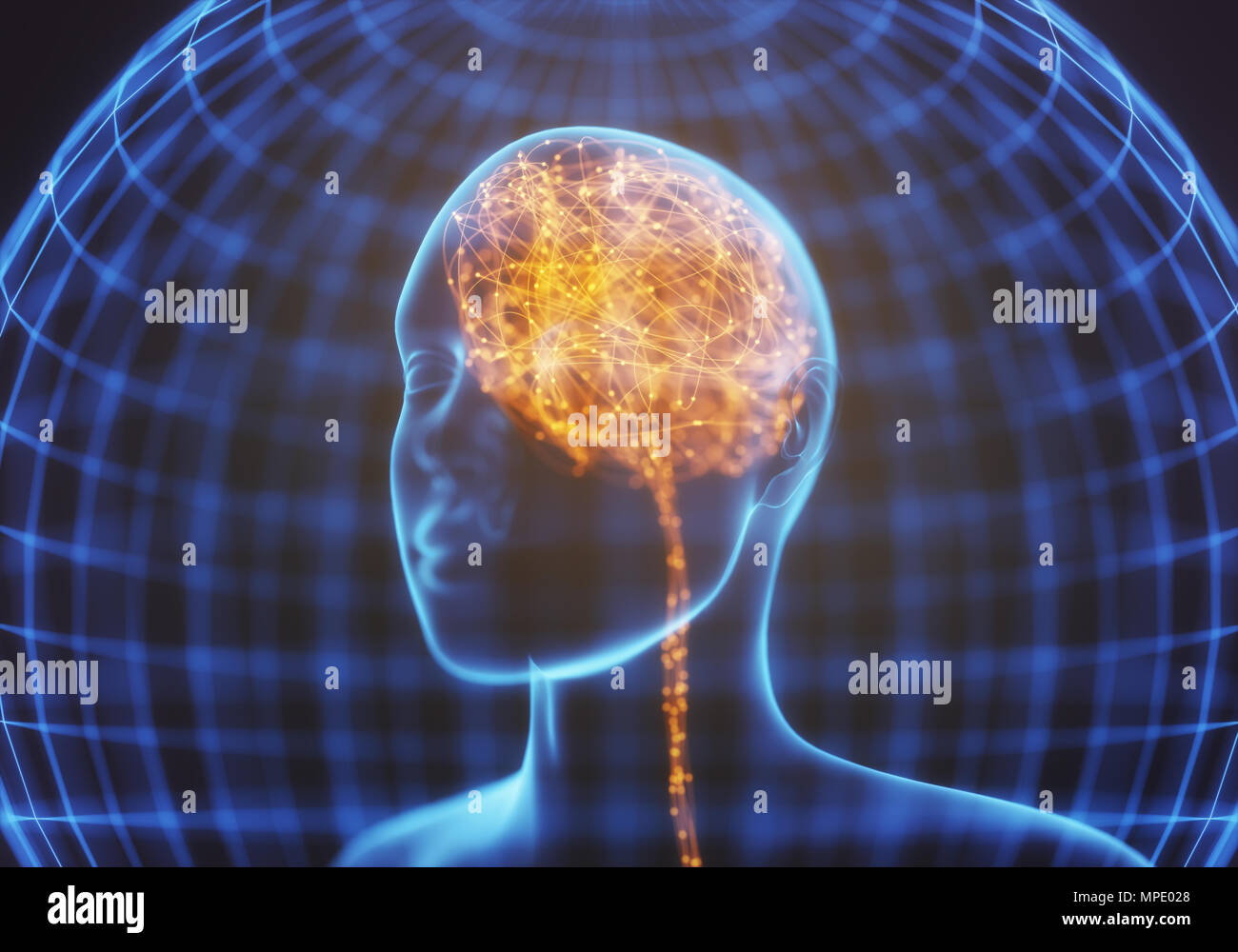 3D illustration. X-ray of the head and human brain in concept of neural connections and electrical pulses. Sparkles inside the brain. Powerful mind. - Stock Image