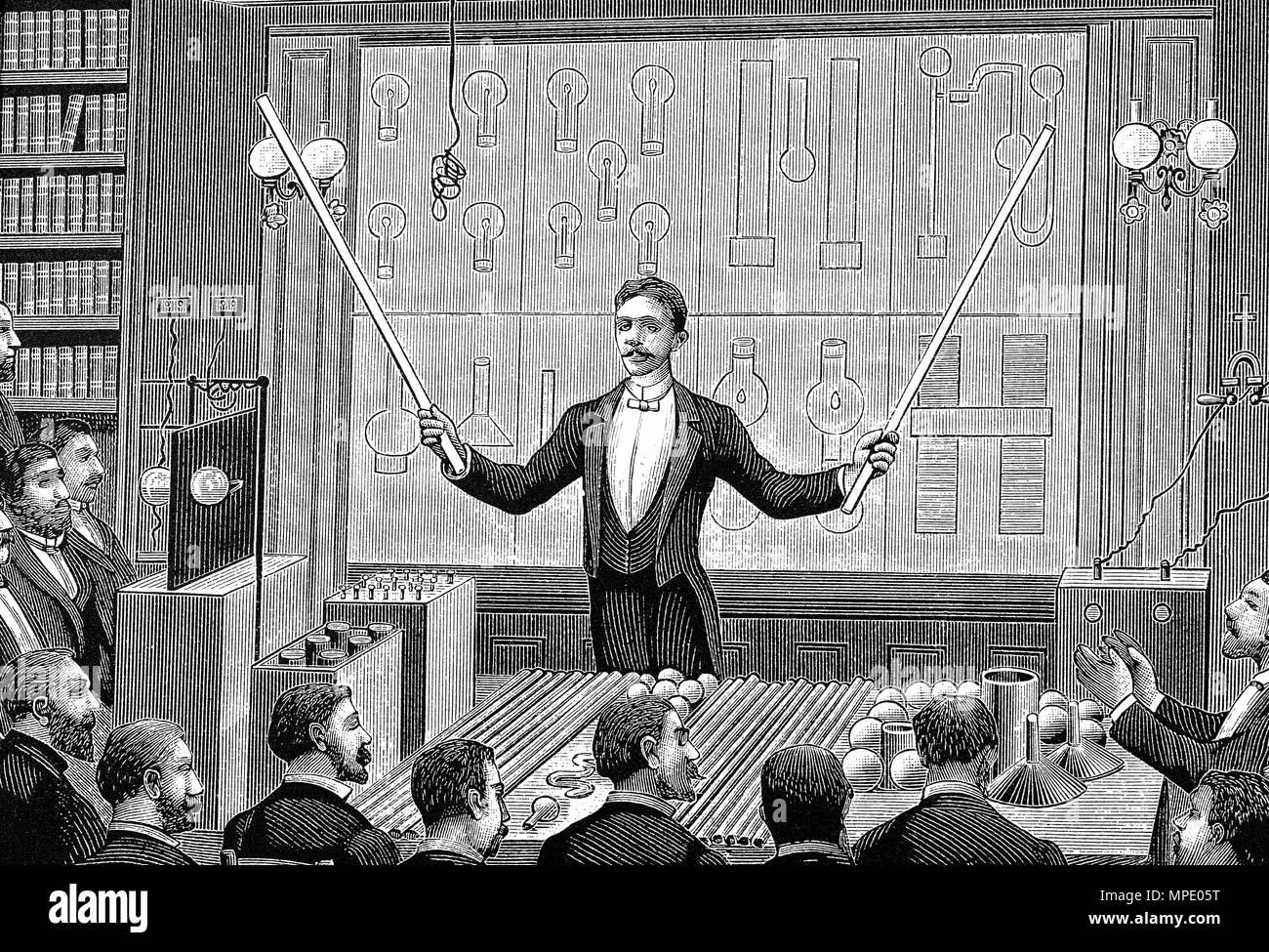 Nicola Tesla teaching woodcut engraving - Stock Image