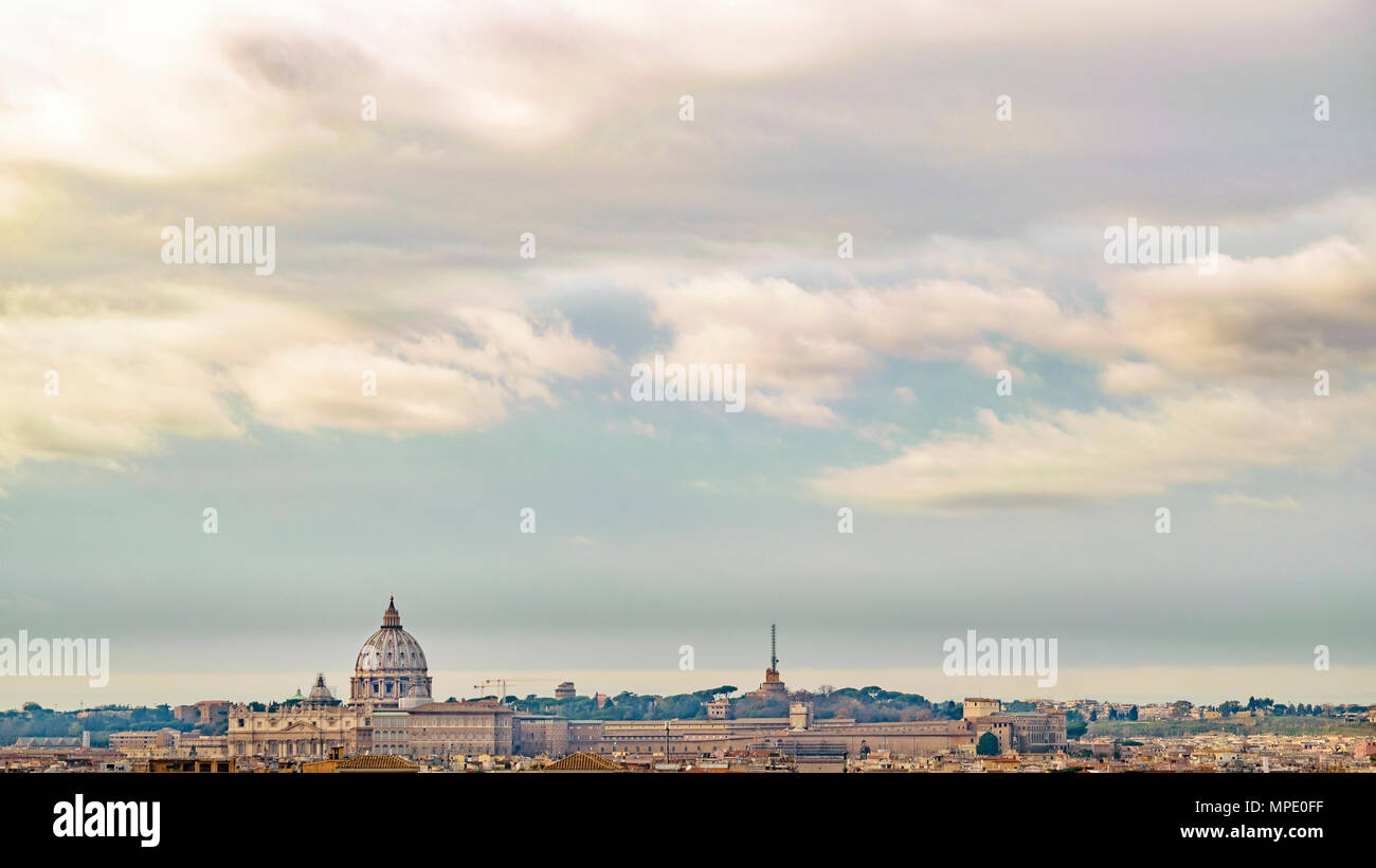 Rome cityscape aerial view from monte pincio viewpoint - Stock Image