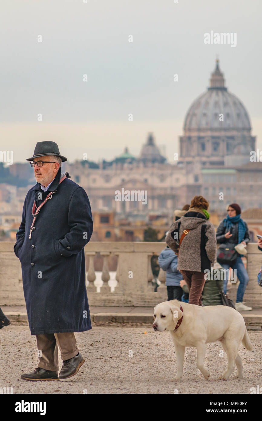 ROME, ITALY, DECEMBER - 2017 - Group of tourists at monte pincio viewpoint. - Stock Image